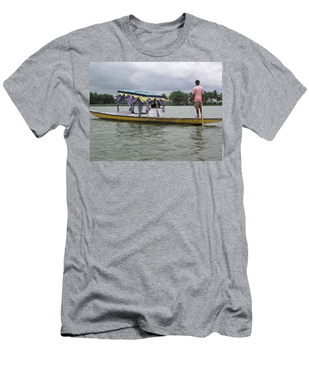 Boatman Men's T-Shirt (Athletic Fit) featuring the photograph Boatman Taking A Couple Out On A Shikhara by Ashish Agarwal