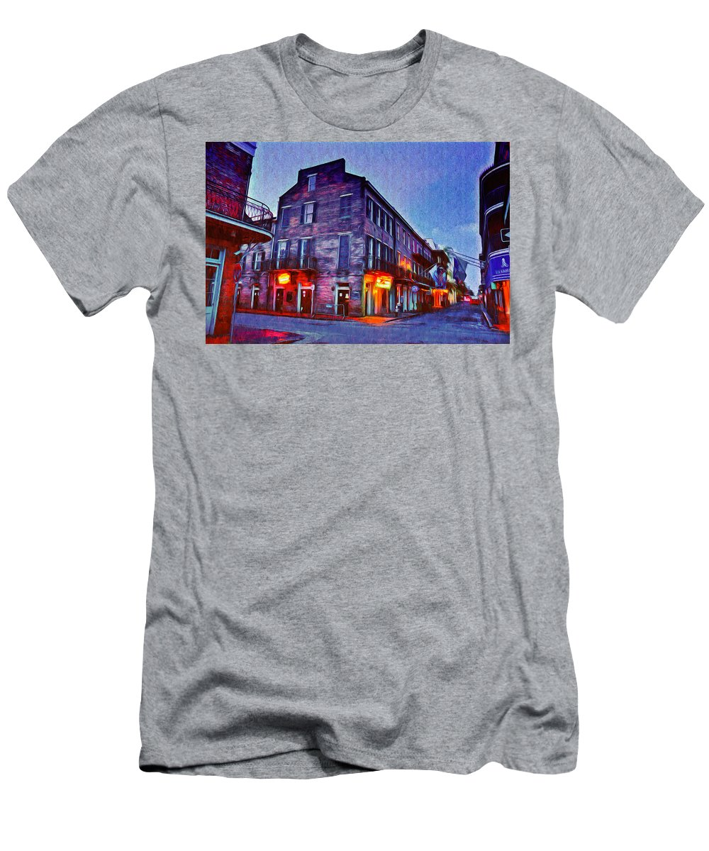 Bourbon Street In The Quiet Hours Men's T-Shirt (Athletic Fit) featuring the photograph Bourbon Street In The Quiet Hours by Bill Cannon