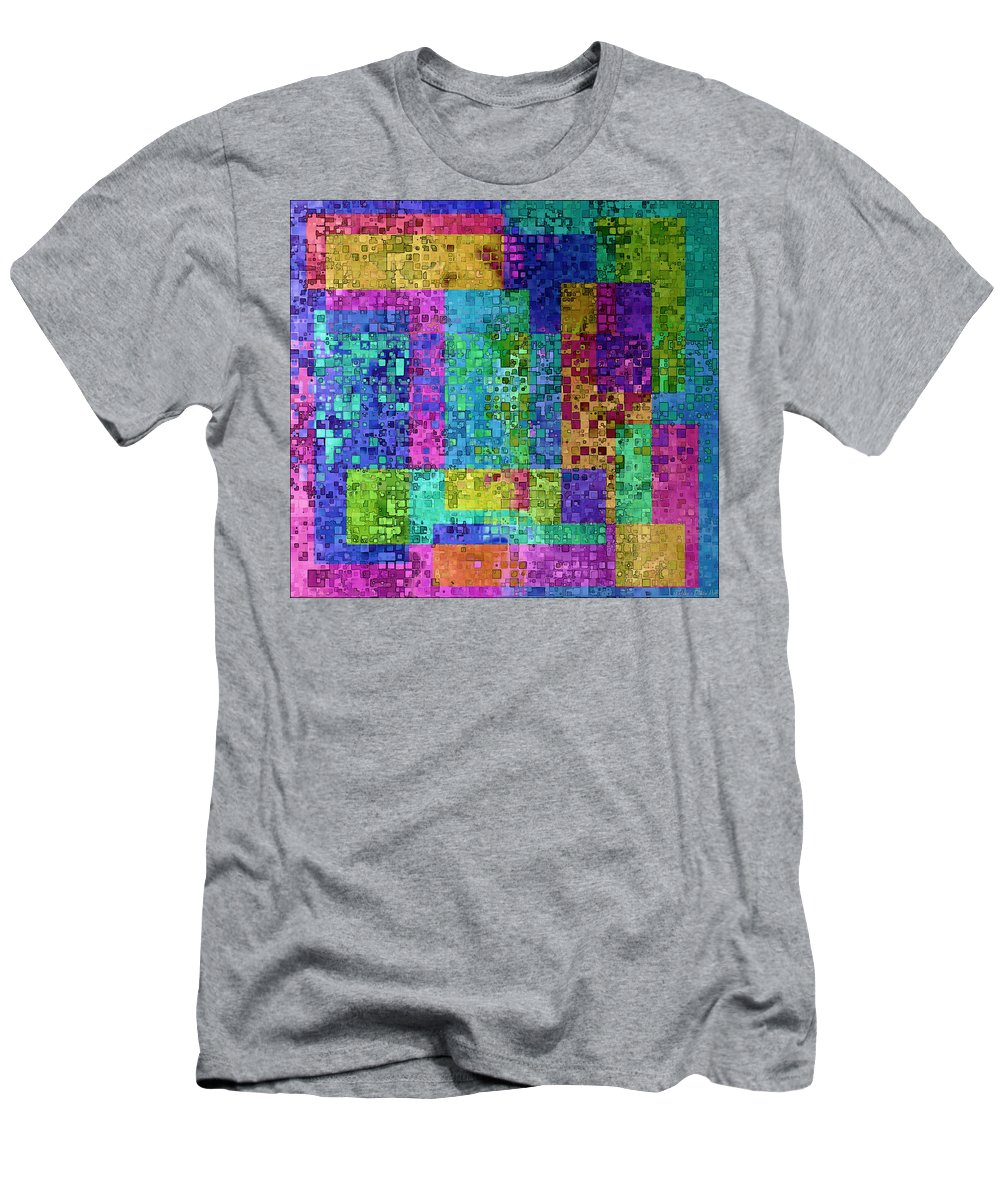 Abstract Men's T-Shirt (Athletic Fit) featuring the digital art Boxes Boxes Boxes II by Debbie Portwood