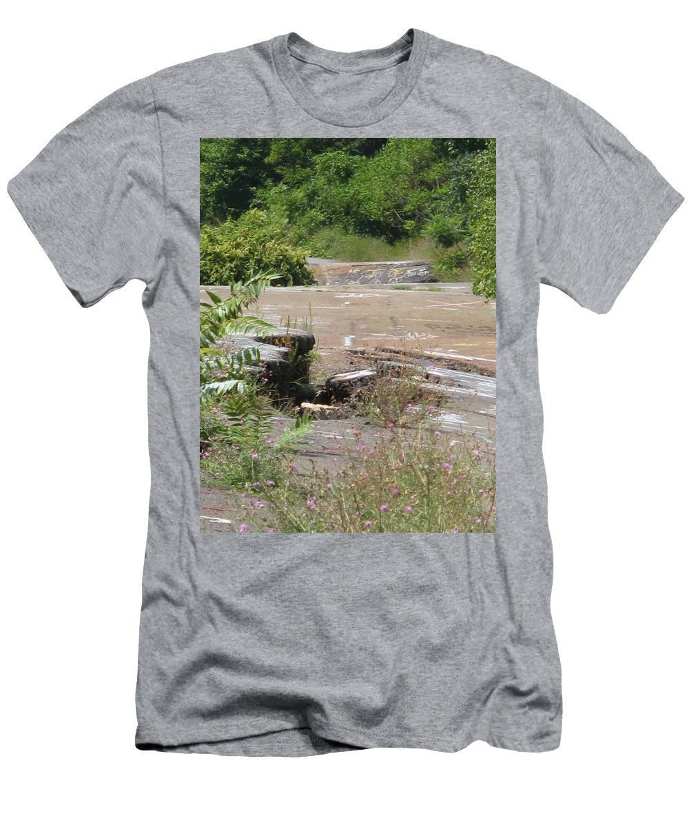 Centralia Pa Men's T-Shirt (Athletic Fit) featuring the photograph Broken Road Broken Dreams by Michele Nelson
