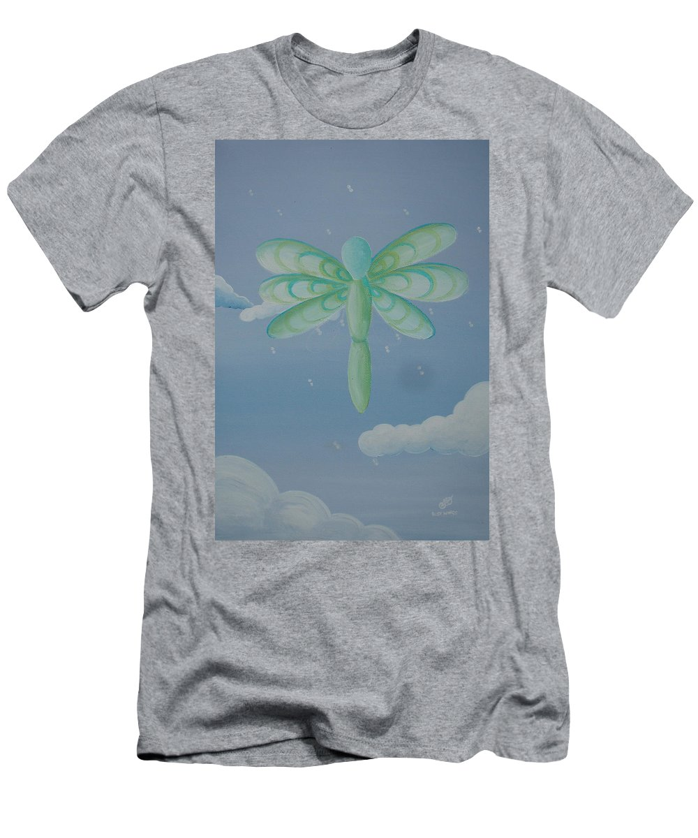 Dragonfly Men's T-Shirt (Athletic Fit) featuring the painting Busy Wings by Catt Kyriacou