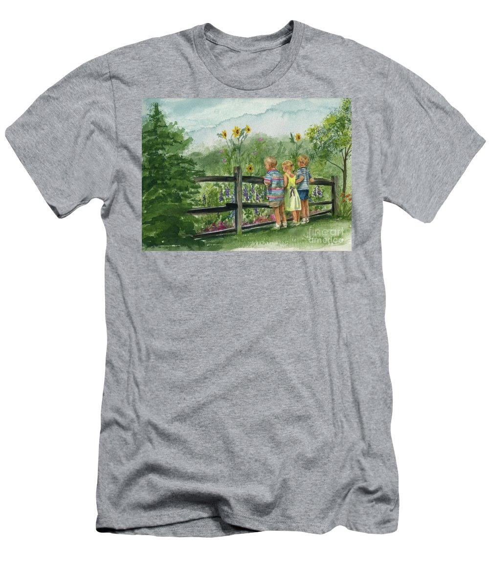 Children Men's T-Shirt (Athletic Fit) featuring the painting By The Garden Fence by Nancy Patterson