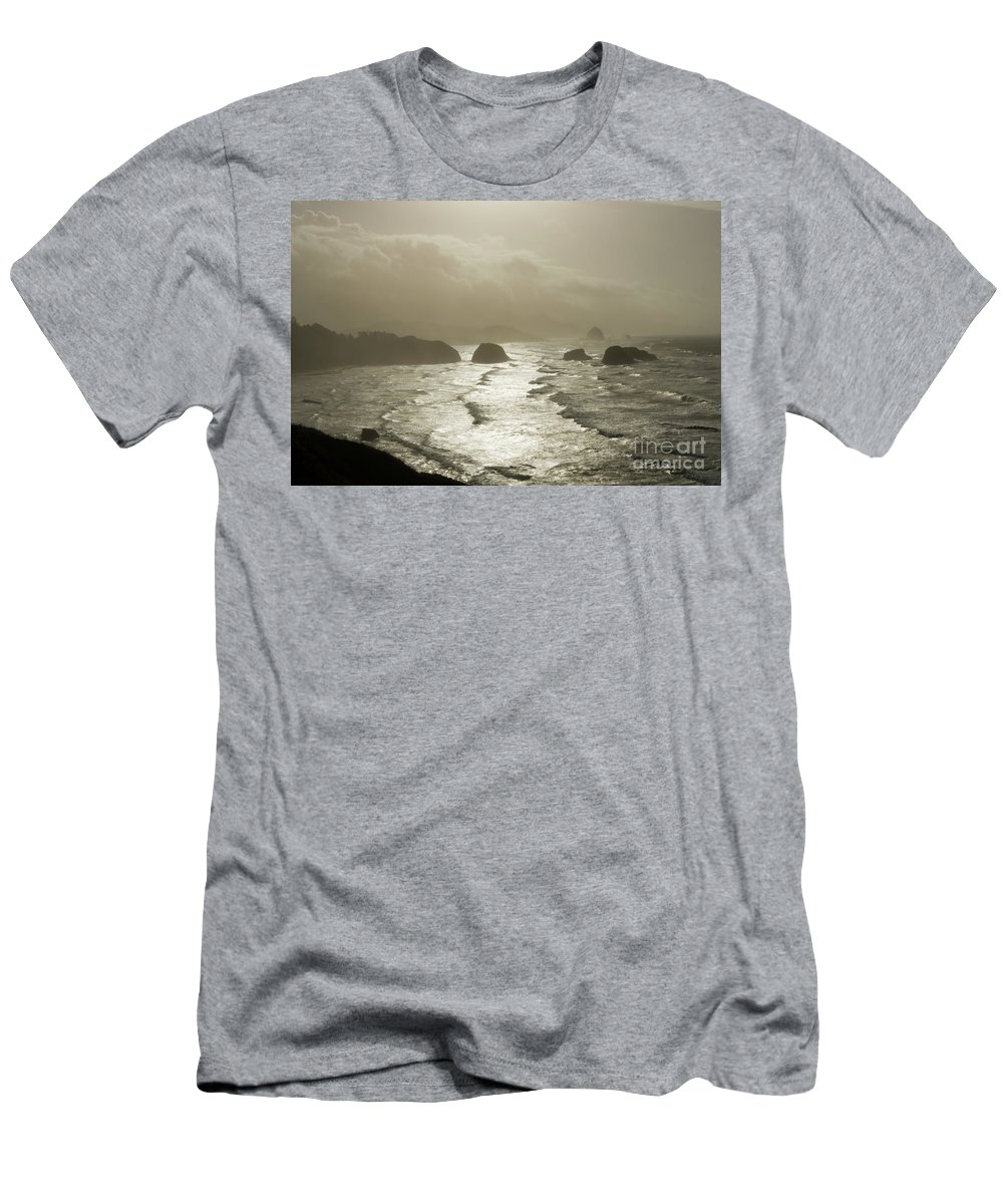 Pacific Ocean Men's T-Shirt (Athletic Fit) featuring the photograph Cannon Beach by Bob Christopher