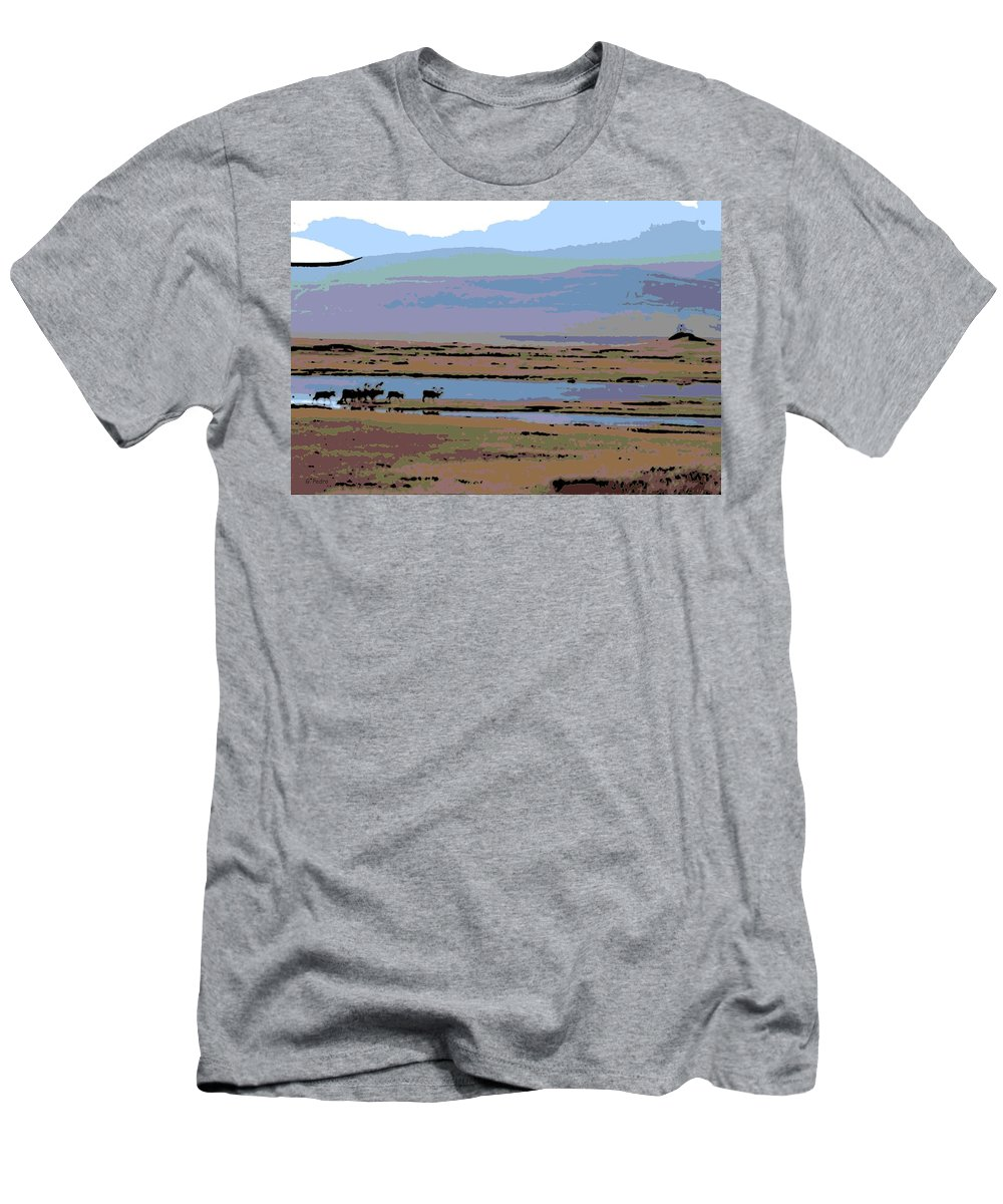 Caribou Men's T-Shirt (Athletic Fit) featuring the photograph Caribou On The Move by George Pedro