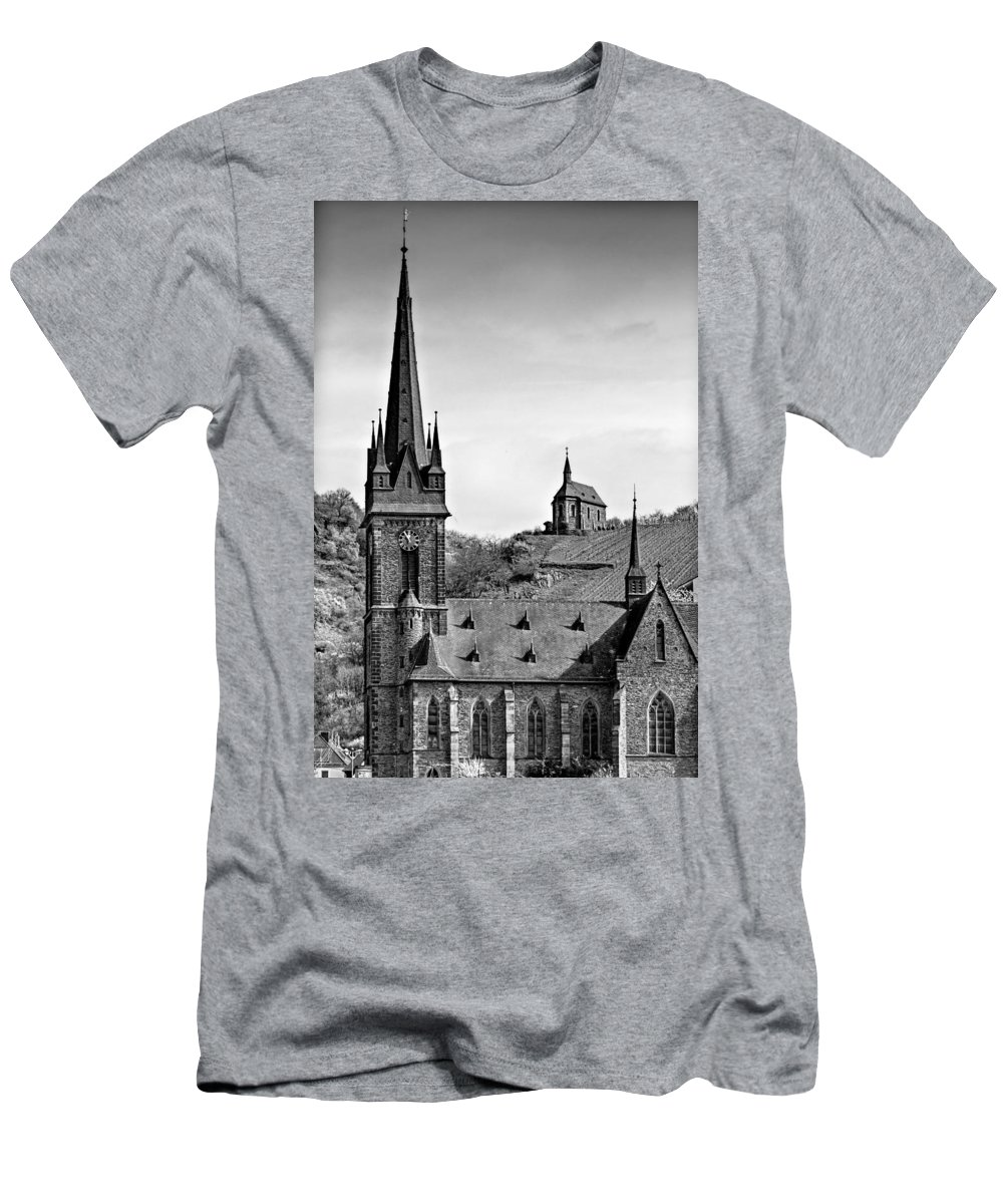 Hdr Men's T-Shirt (Athletic Fit) featuring the photograph Churches Of Lorchhausen Bw by Bill Lindsay
