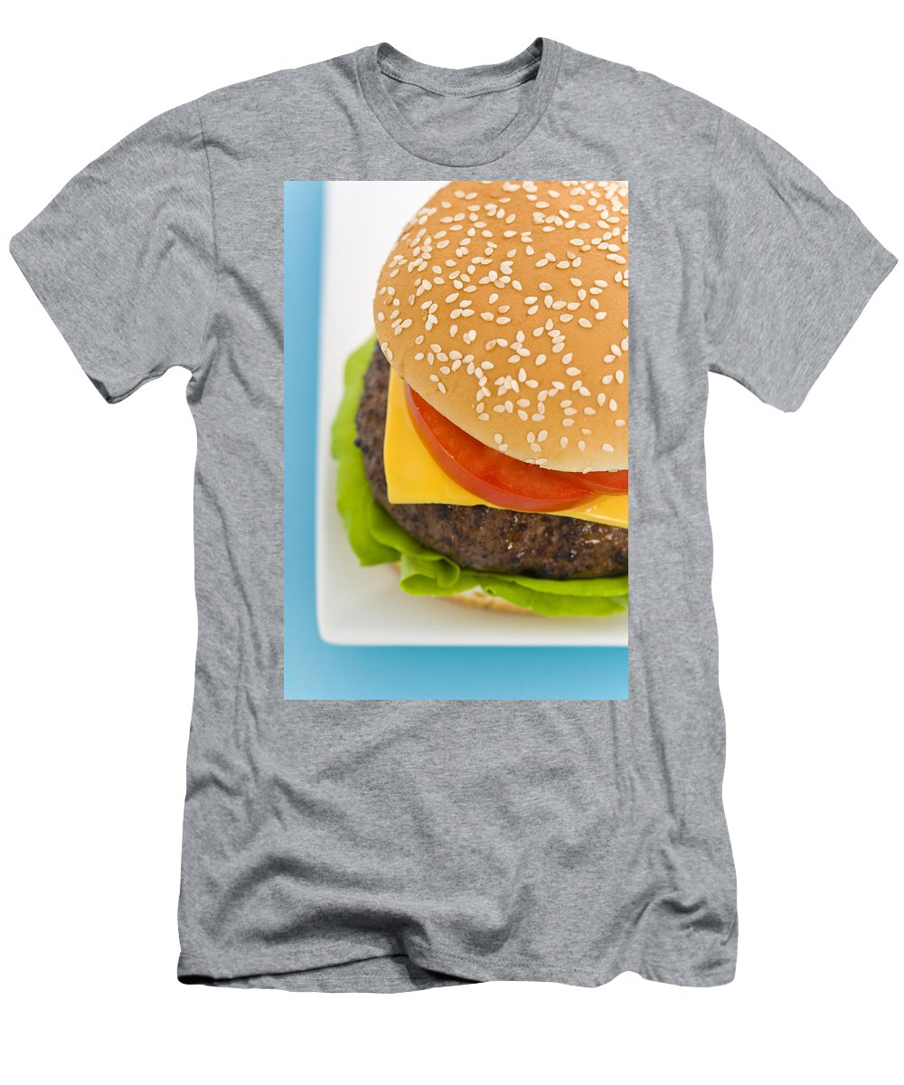 Barbecue Men's T-Shirt (Athletic Fit) featuring the photograph Classic Hamburger With Cheese Tomato And Salad by U Schade