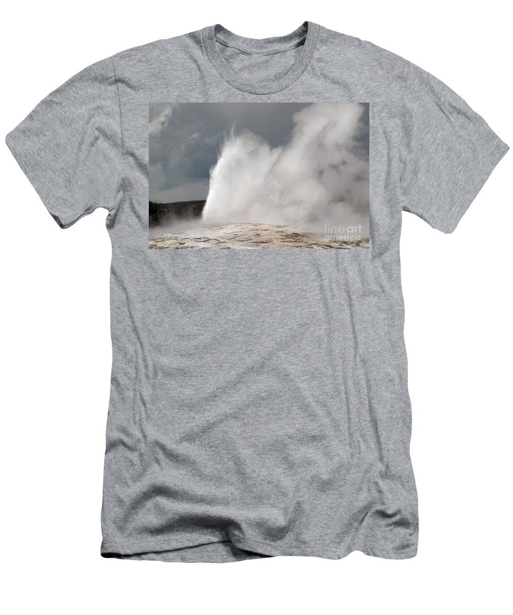 Old Faithful Men's T-Shirt (Athletic Fit) featuring the photograph Close Up Of Old Faithful by Living Color Photography Lorraine Lynch