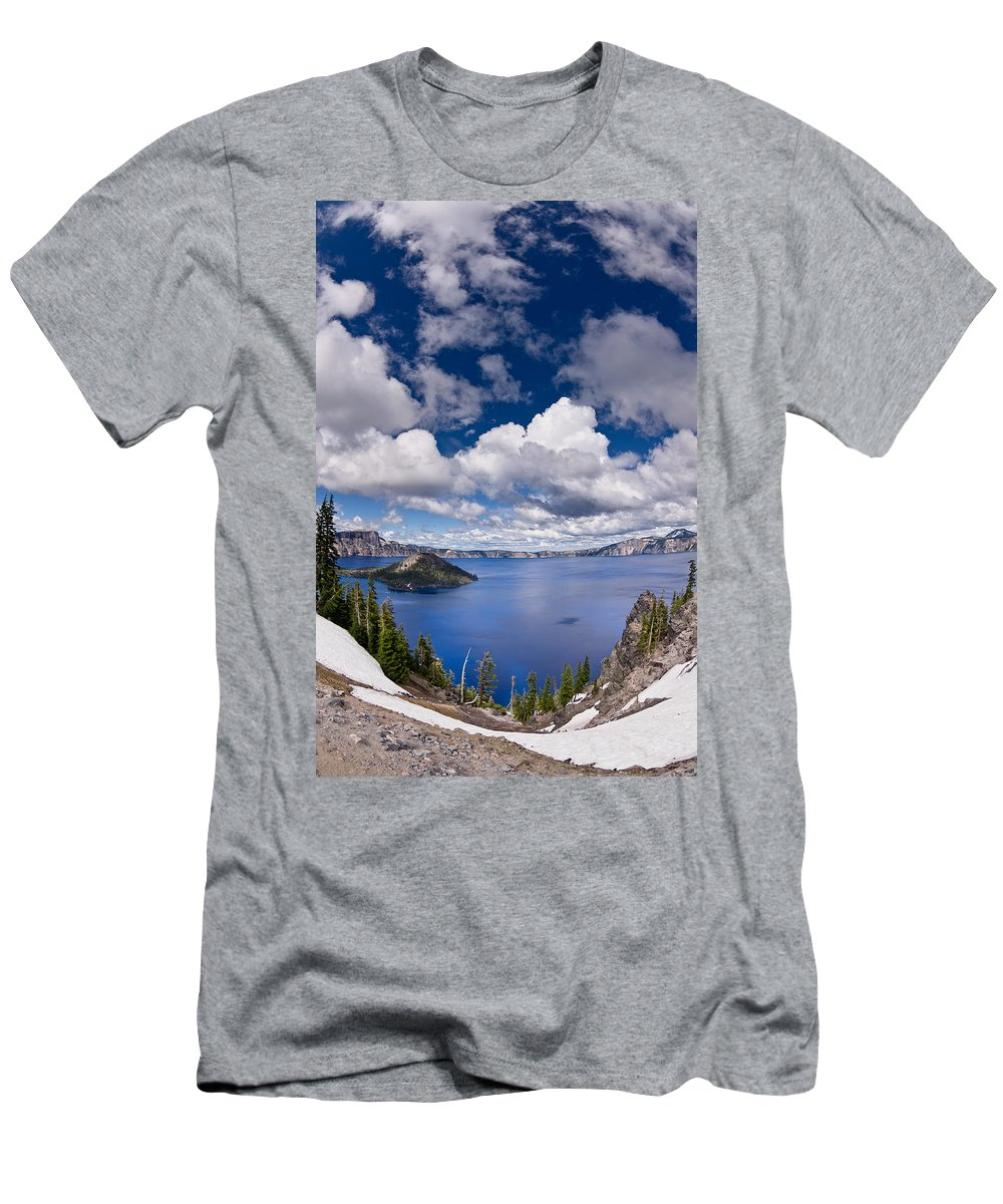 Crater Lake Men's T-Shirt (Athletic Fit) featuring the photograph Clouds Above Crater Lake by Greg Nyquist