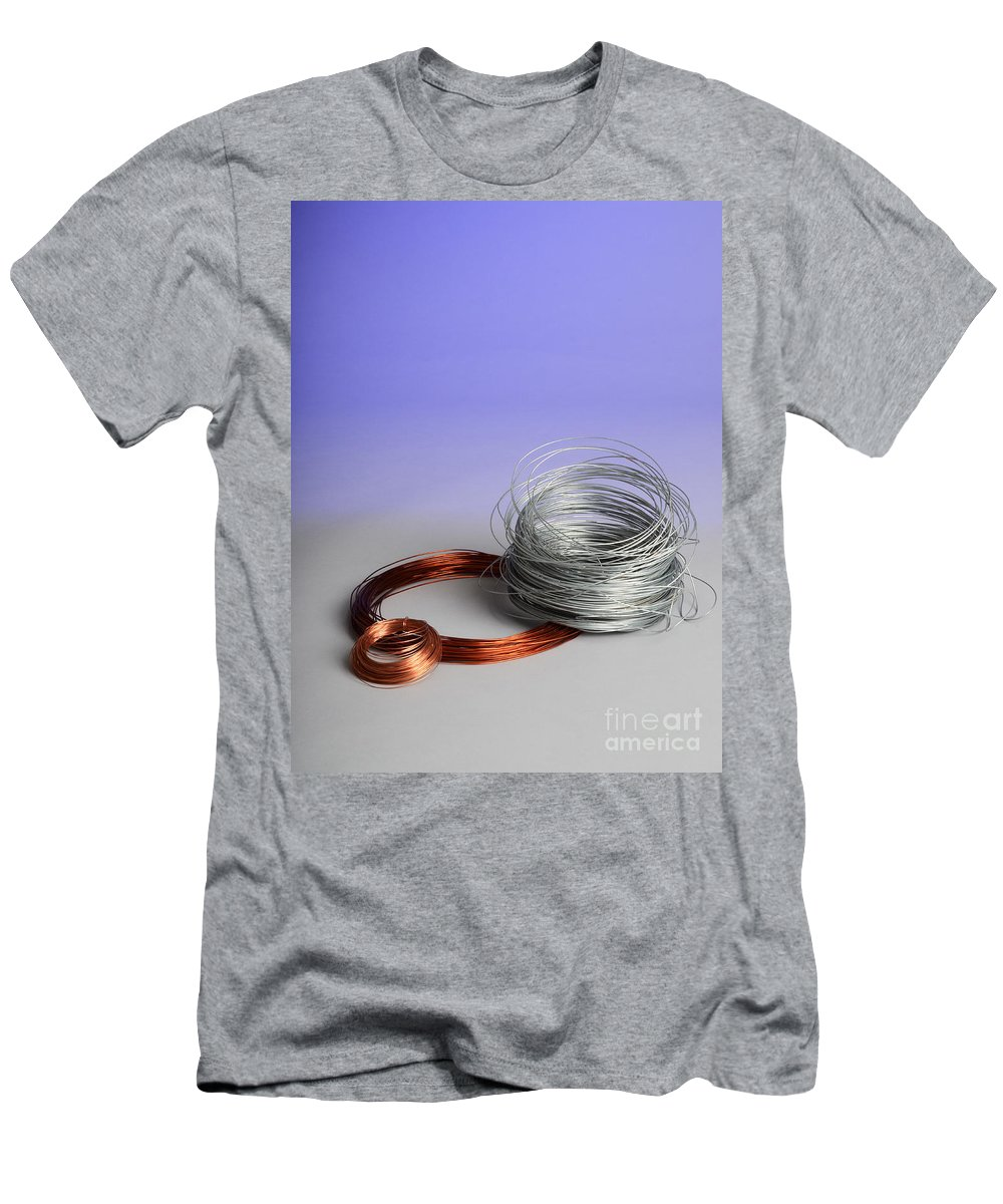 Copper Men's T-Shirt (Athletic Fit) featuring the photograph Coiled Wires by Photo Researchers, Inc.