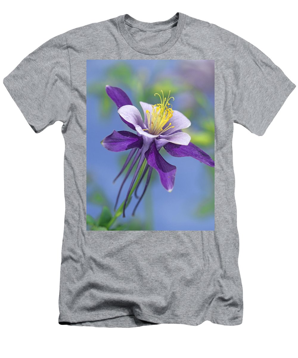 00176669 T-Shirt featuring the photograph Colorado Blue Columbine Close by Tim Fitzharris