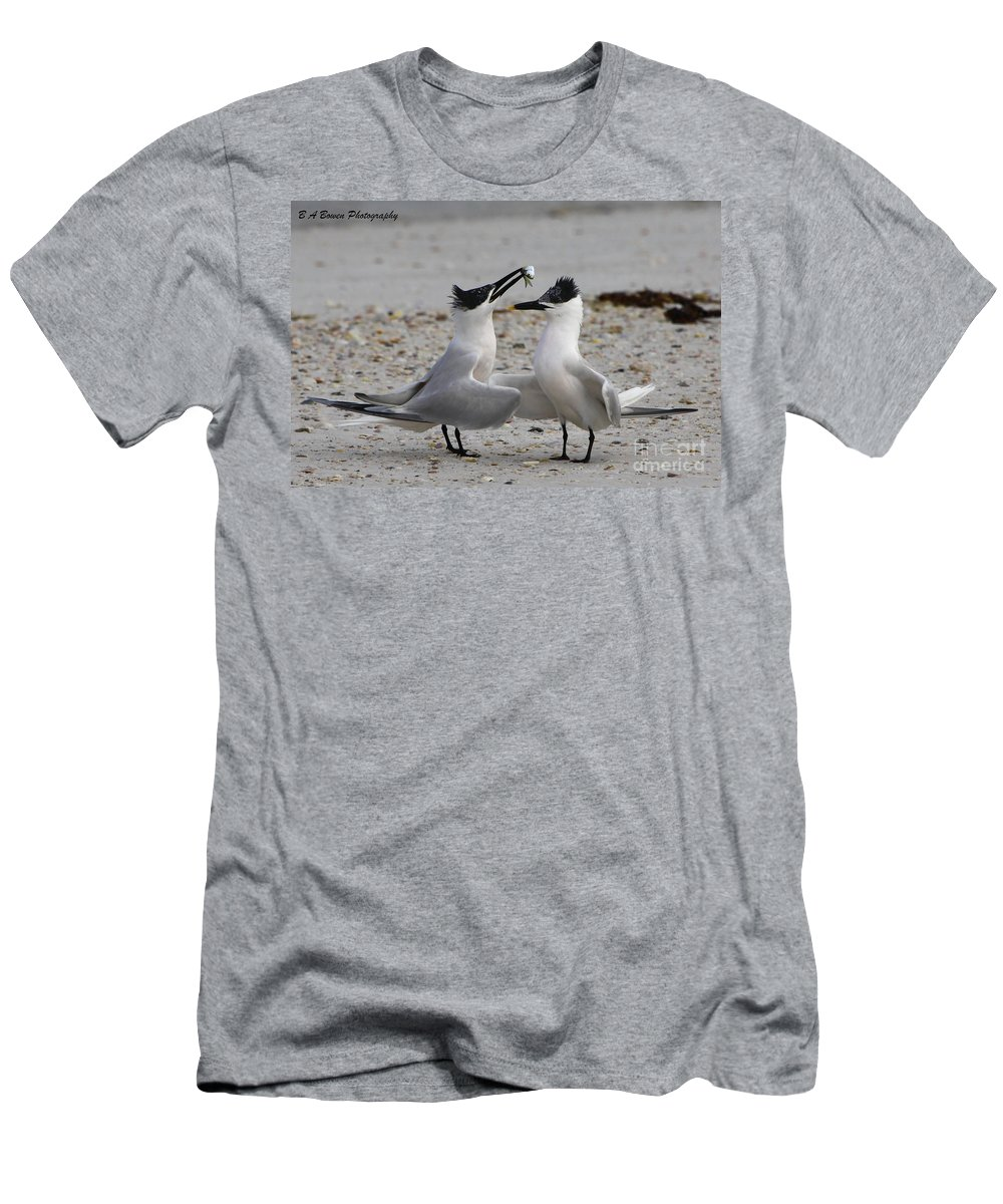 Sandwich Tern Men's T-Shirt (Athletic Fit) featuring the photograph Courtship by Barbara Bowen