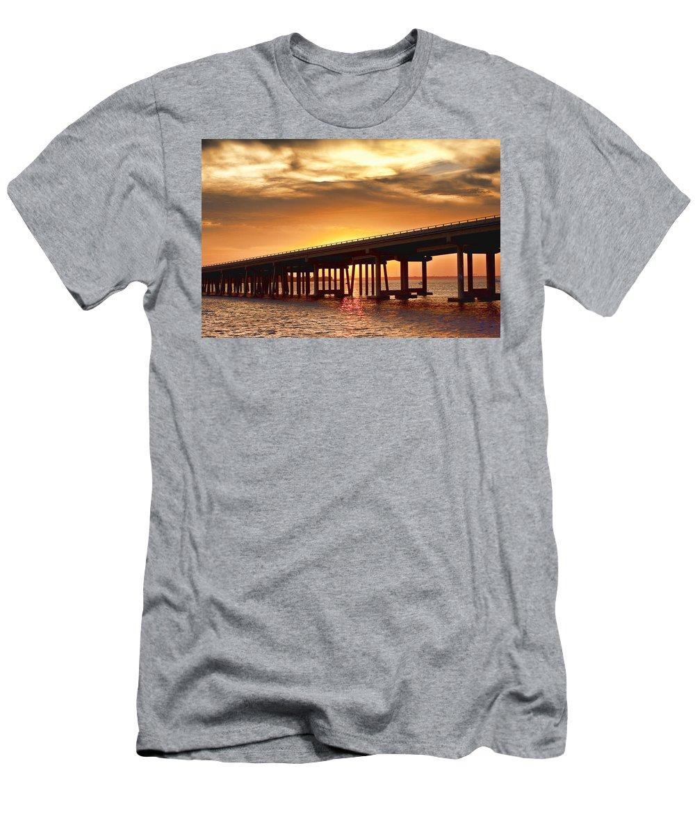 Crab Island Men's T-Shirt (Athletic Fit) featuring the photograph Crab Island Bridge by Sheri Bartoszek