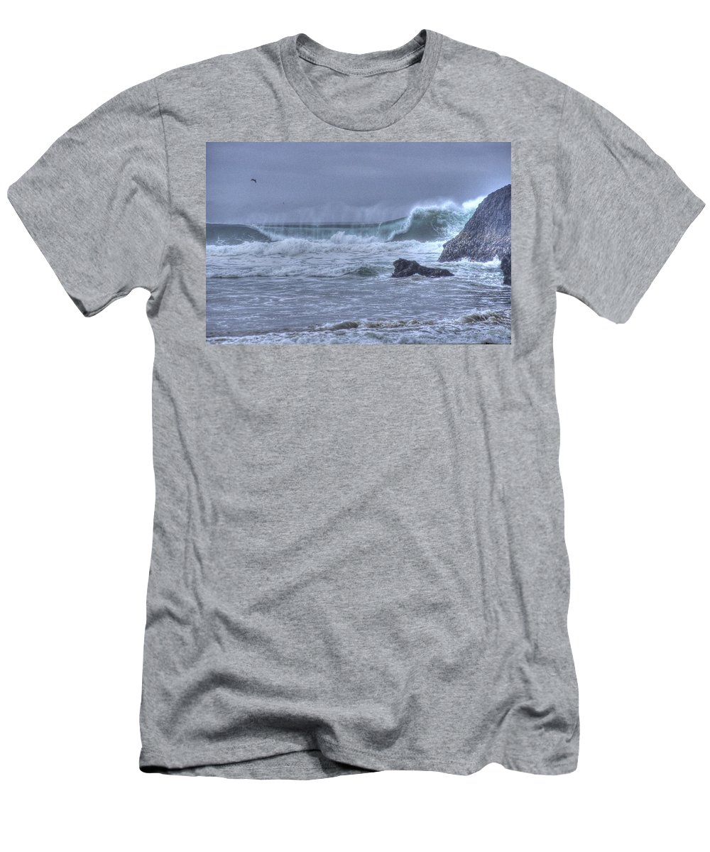 Ocean Men's T-Shirt (Athletic Fit) featuring the photograph Crashing Wave by One Rude Dawg Orcutt