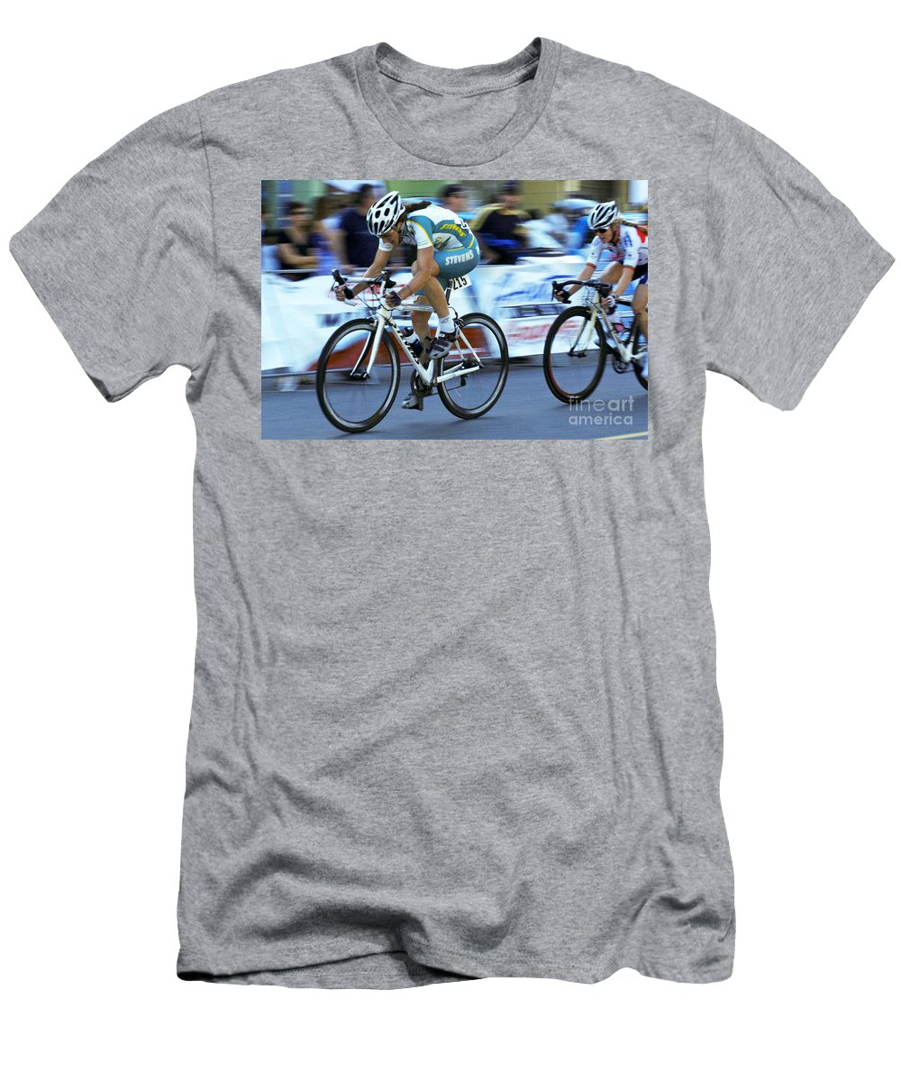Criterium Men's T-Shirt (Athletic Fit) featuring the photograph Criterium Bicycle Race 3 by Bob Christopher