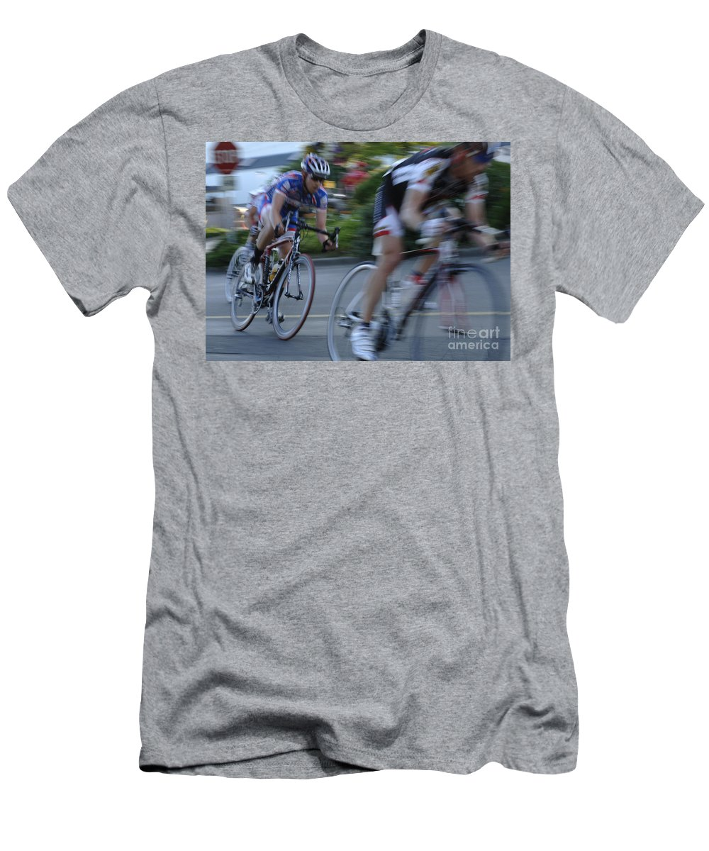Criterium Men's T-Shirt (Athletic Fit) featuring the photograph Criterium Bicycle Race 4 by Bob Christopher
