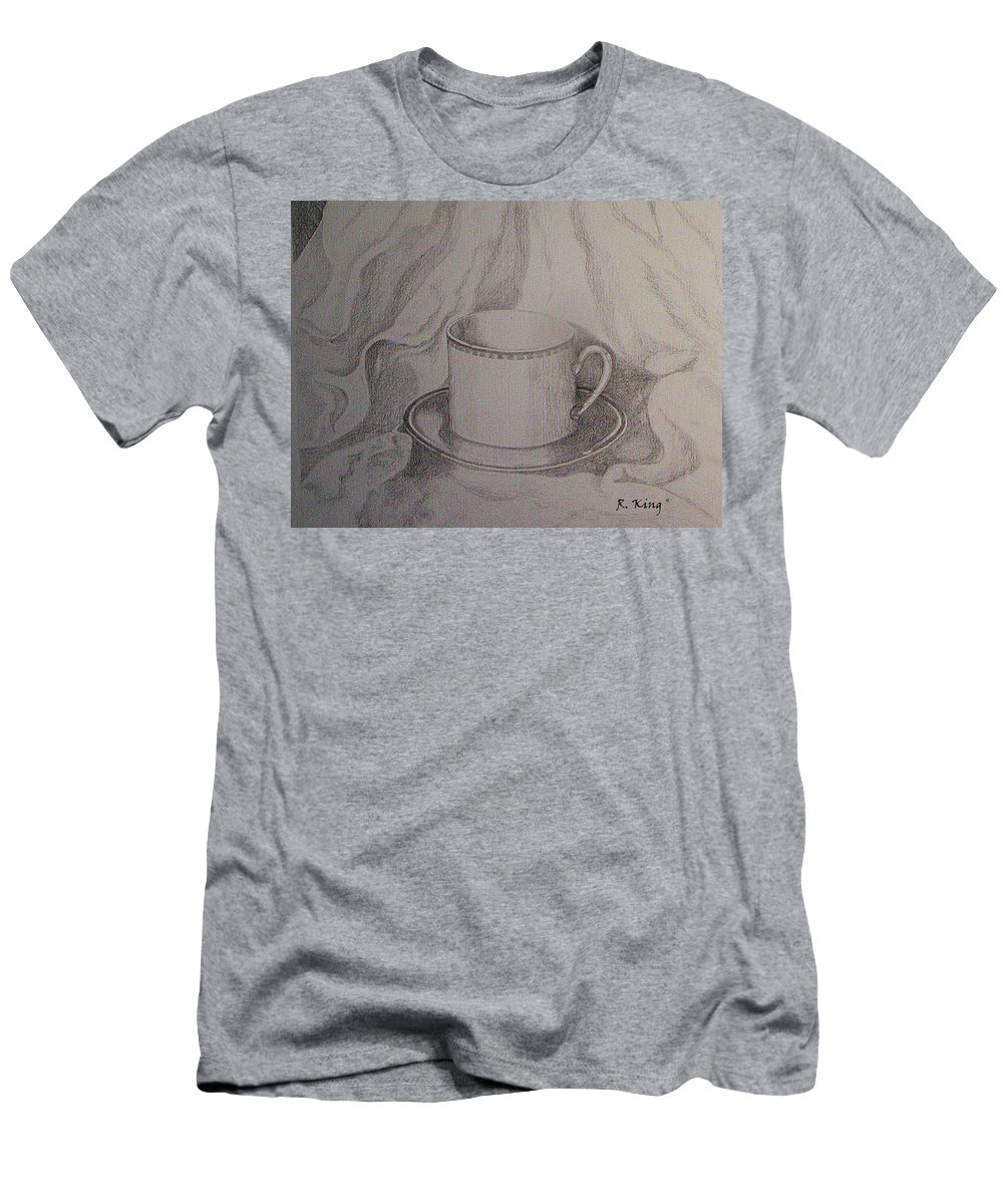 Roena King Men's T-Shirt (Athletic Fit) featuring the drawing Cup And Saucer On Material by Roena King