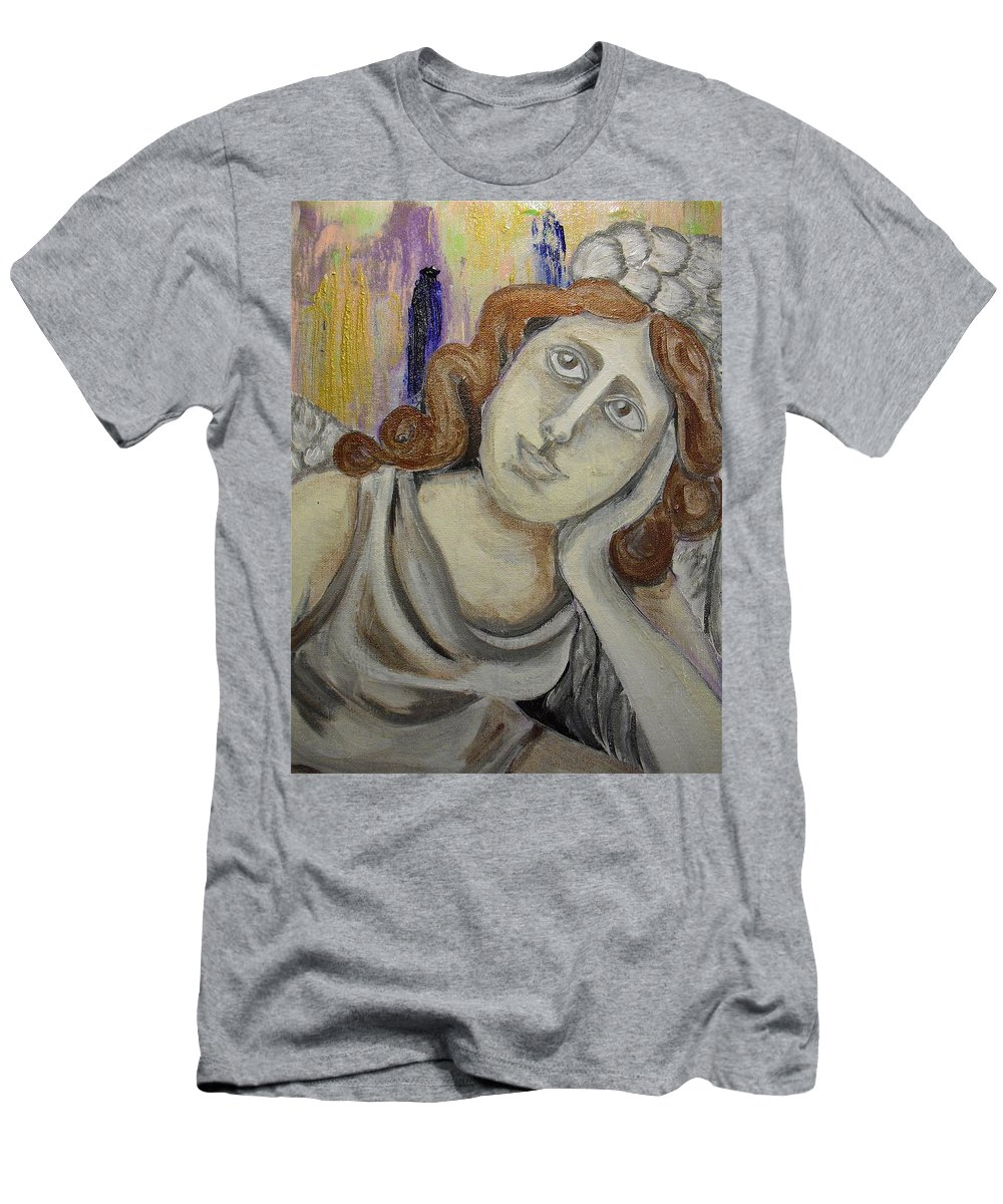 Angels Men's T-Shirt (Athletic Fit) featuring the painting Deep In Thought by Melissa Torres