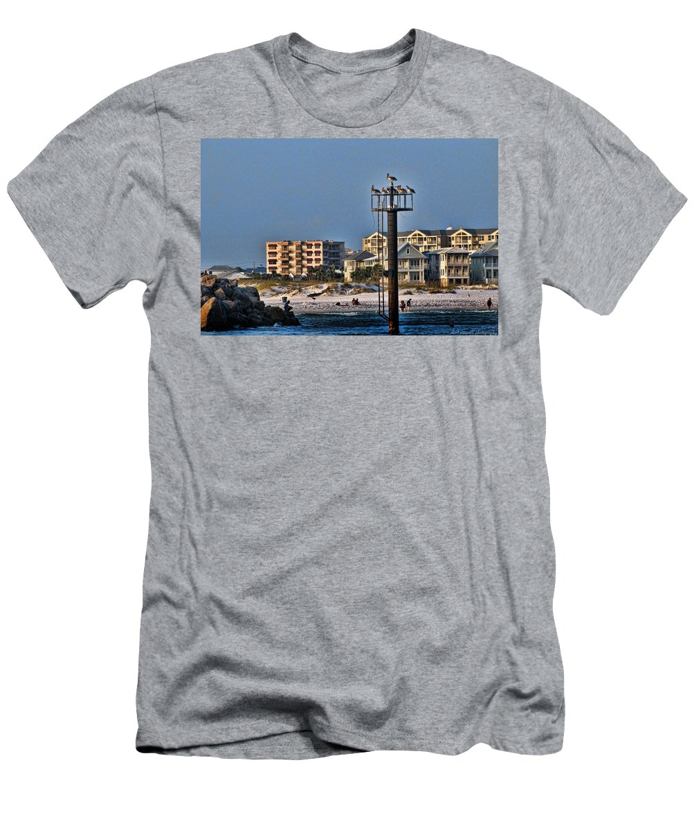 Pelicans Men's T-Shirt (Athletic Fit) featuring the photograph Destin Pelicans by Sheri Bartoszek