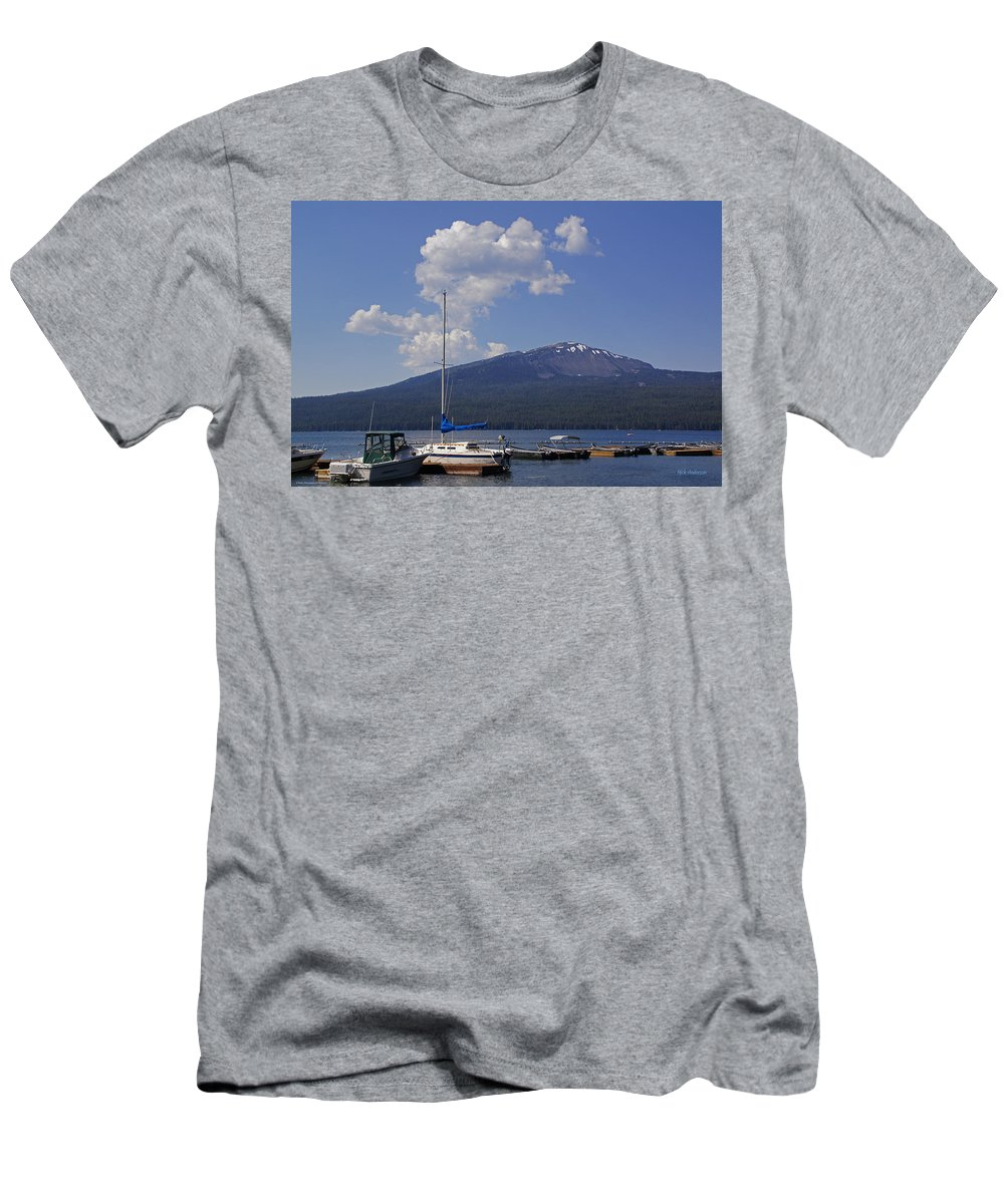 Diamond Lake Men's T-Shirt (Athletic Fit) featuring the photograph Docks At Diamond Lake by Mick Anderson