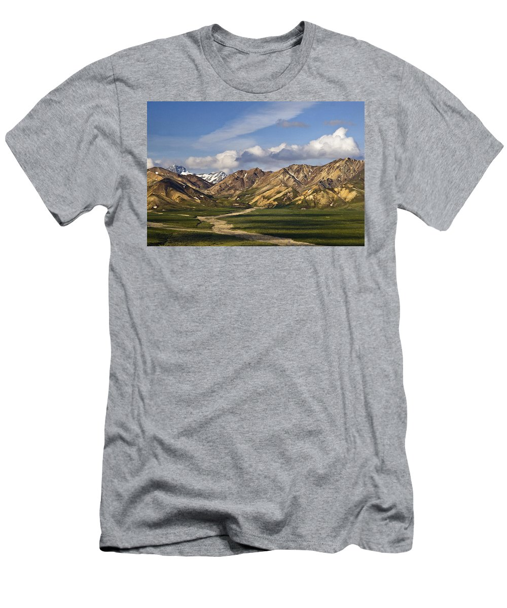 Early Morning Denali Men's T-Shirt (Athletic Fit) featuring the photograph Early Morning Denali by Wes and Dotty Weber