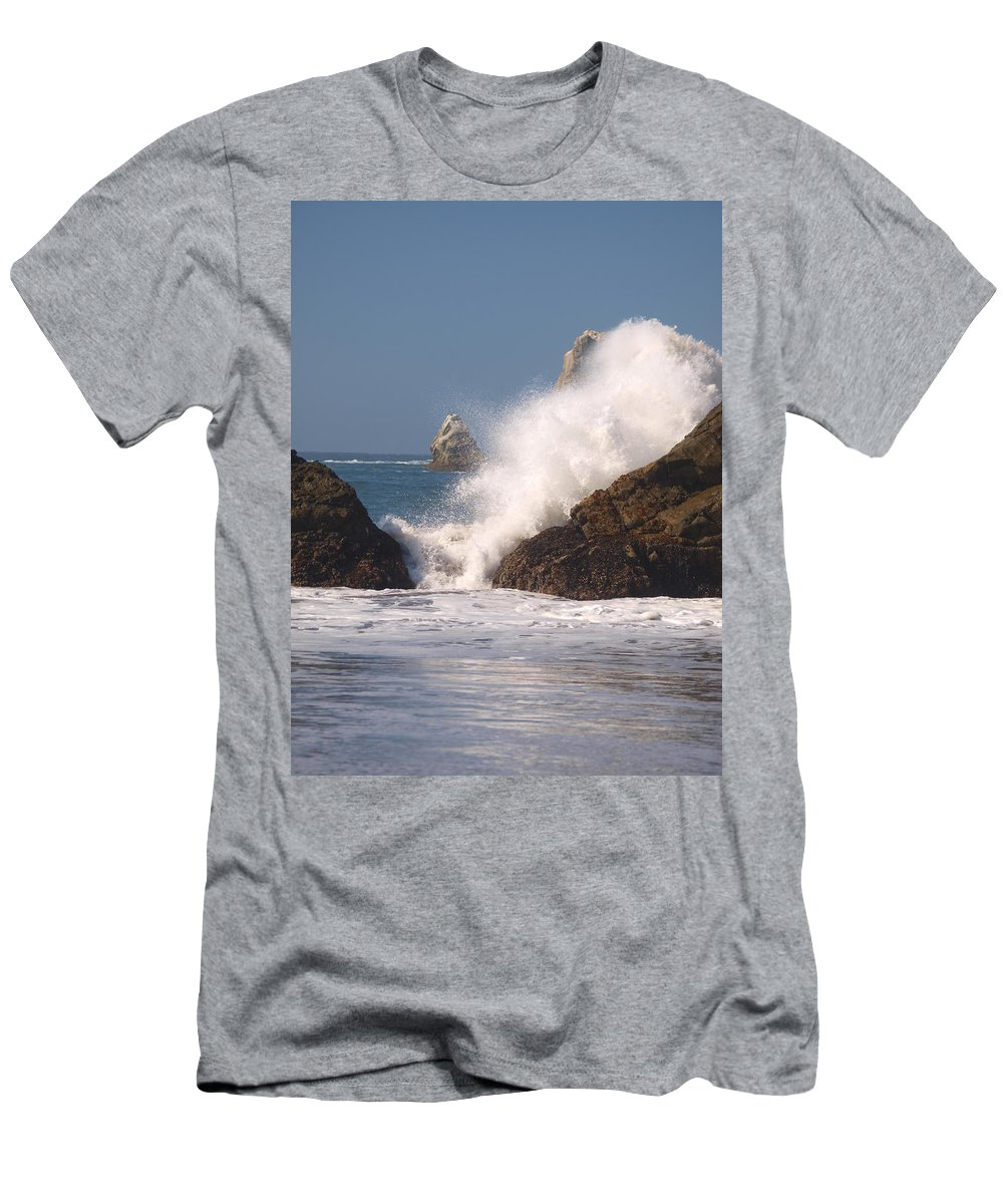 Water Men's T-Shirt (Athletic Fit) featuring the photograph Earth Vs. Water by Teri Schuster