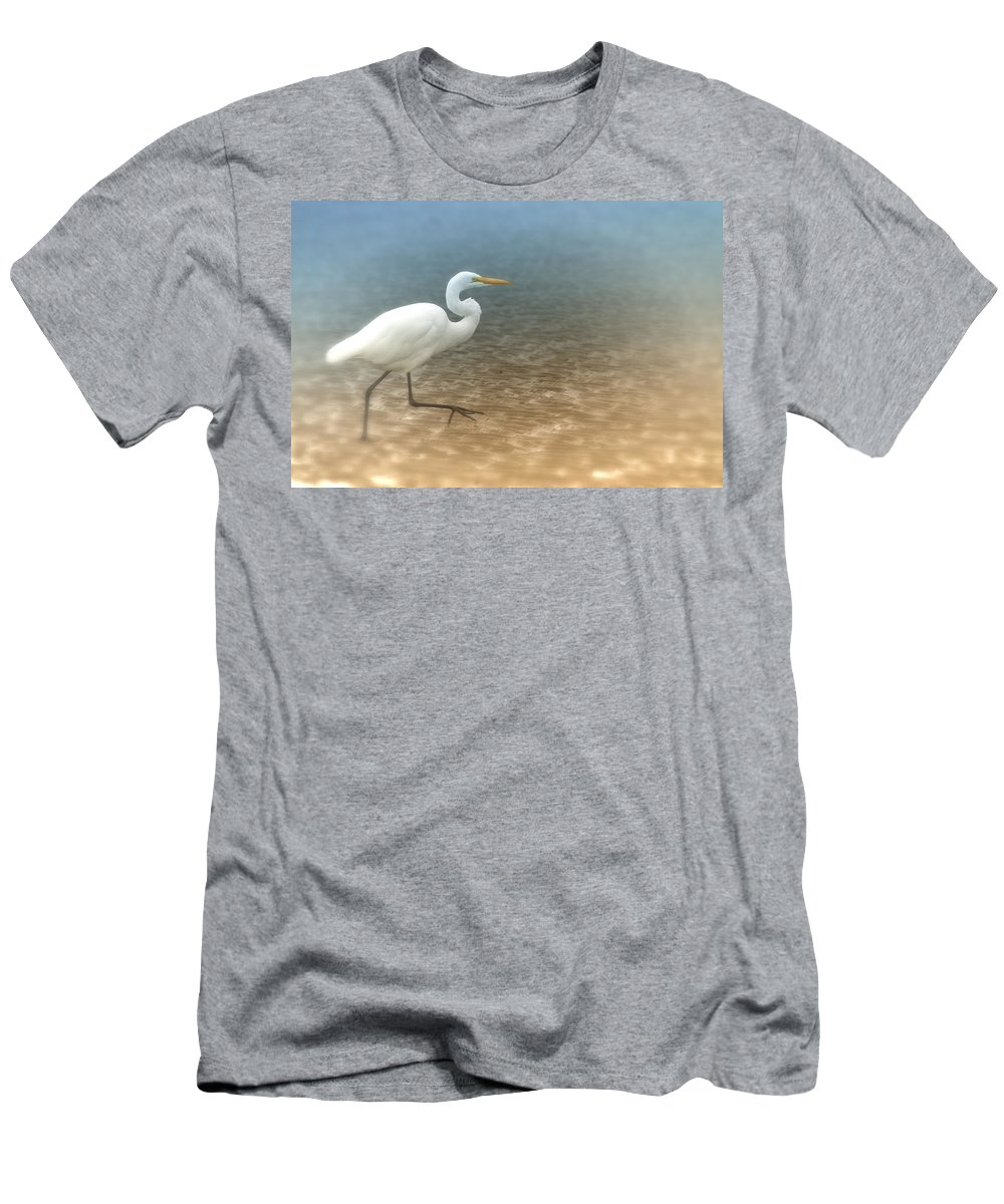 Egret Men's T-Shirt (Athletic Fit) featuring the photograph Egret Stroll by Karol Livote