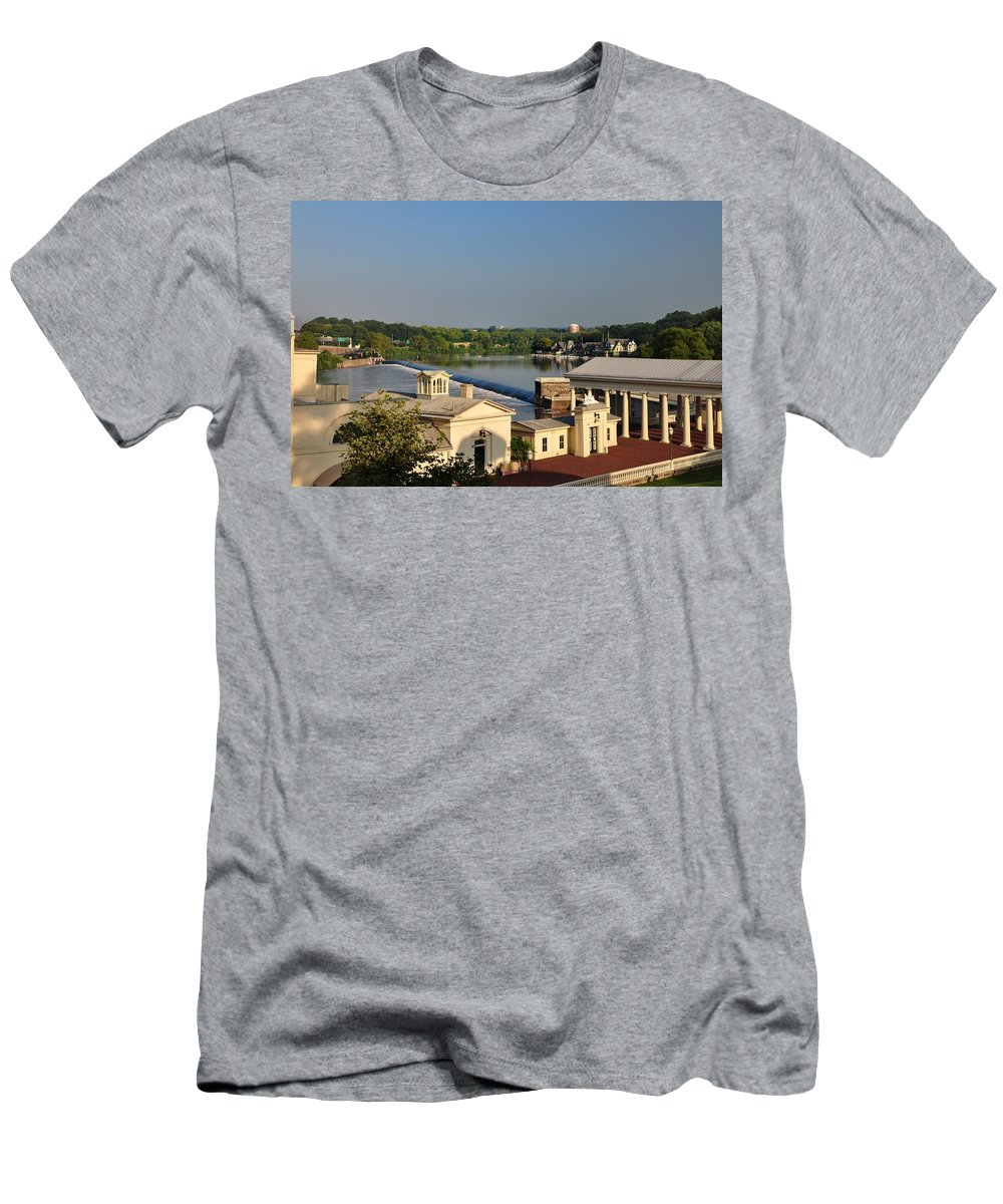Fairmount Men's T-Shirt (Athletic Fit) featuring the photograph Fairmount Waterworks And Dam by Bill Cannon