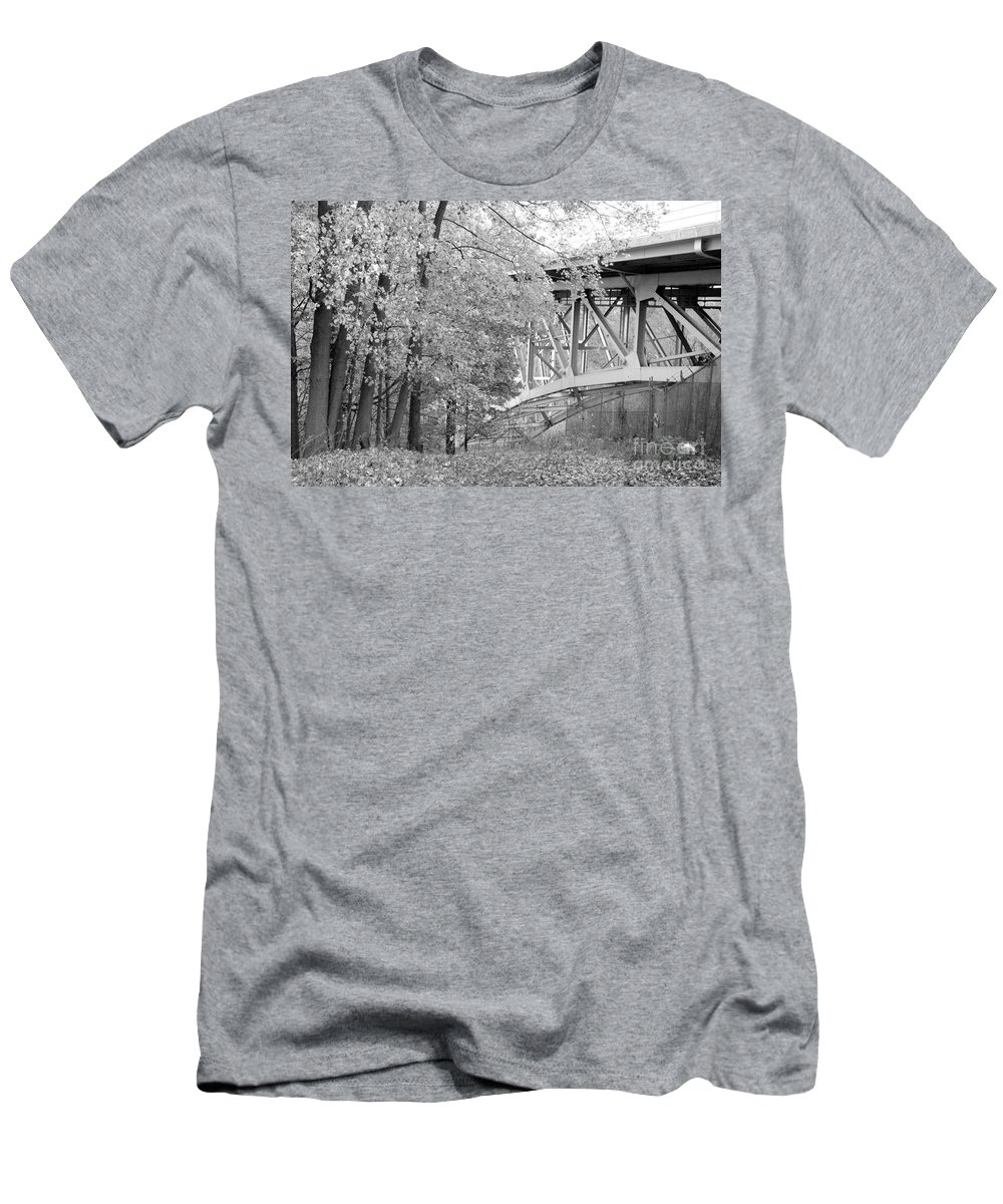 Fall Men's T-Shirt (Athletic Fit) featuring the photograph Falling Under The Bridge by Trish Hale