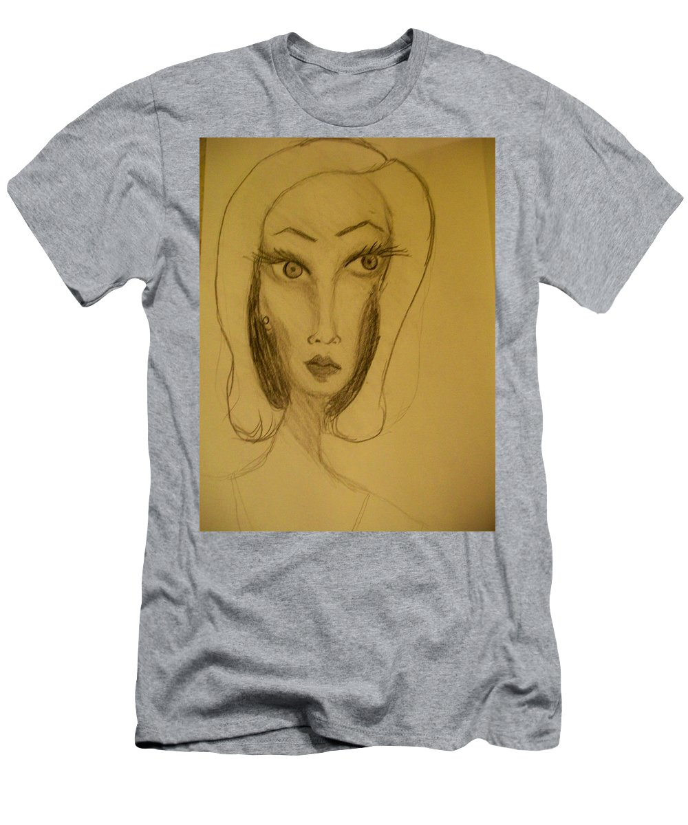 Men's T-Shirt (Athletic Fit) featuring the drawing Fawny Eyes by Laurette Escobar