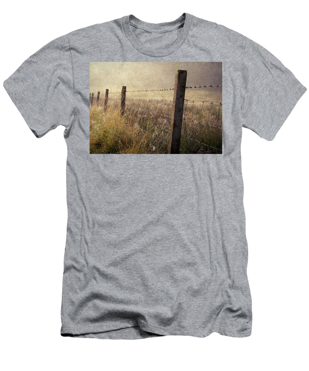 Scotland Men's T-Shirt (Athletic Fit) featuring the photograph Fence And Field. Trossachs National Park. Scotland by Jenny Rainbow