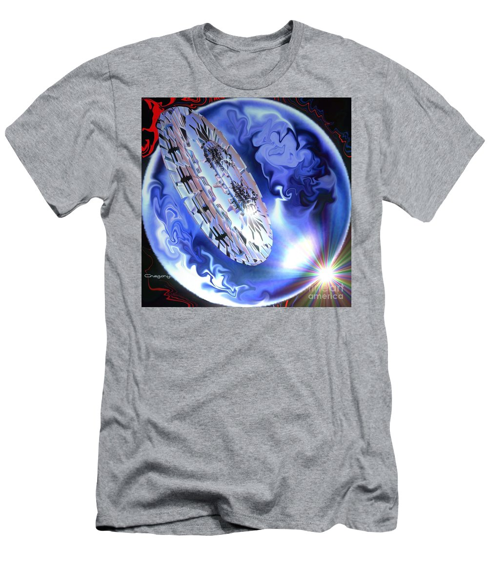 Space Men's T-Shirt (Athletic Fit) featuring the digital art Final Approach by Greg Moores