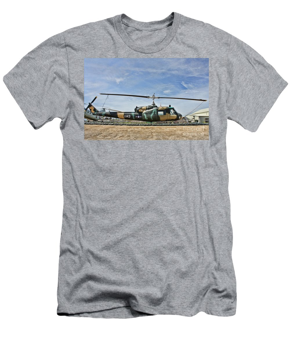 Bell Uh-1 Huey Men's T-Shirt (Athletic Fit) featuring the photograph Firebase Charlie Romeo by Tommy Anderson