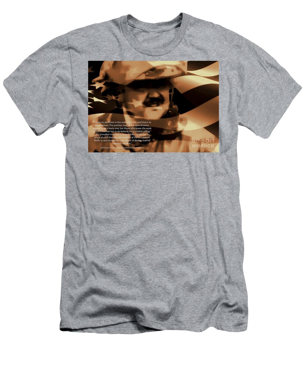 Firefighter Men's T-Shirt (Athletic Fit) featuring the photograph Fireman Self Portrait by Tommy Anderson