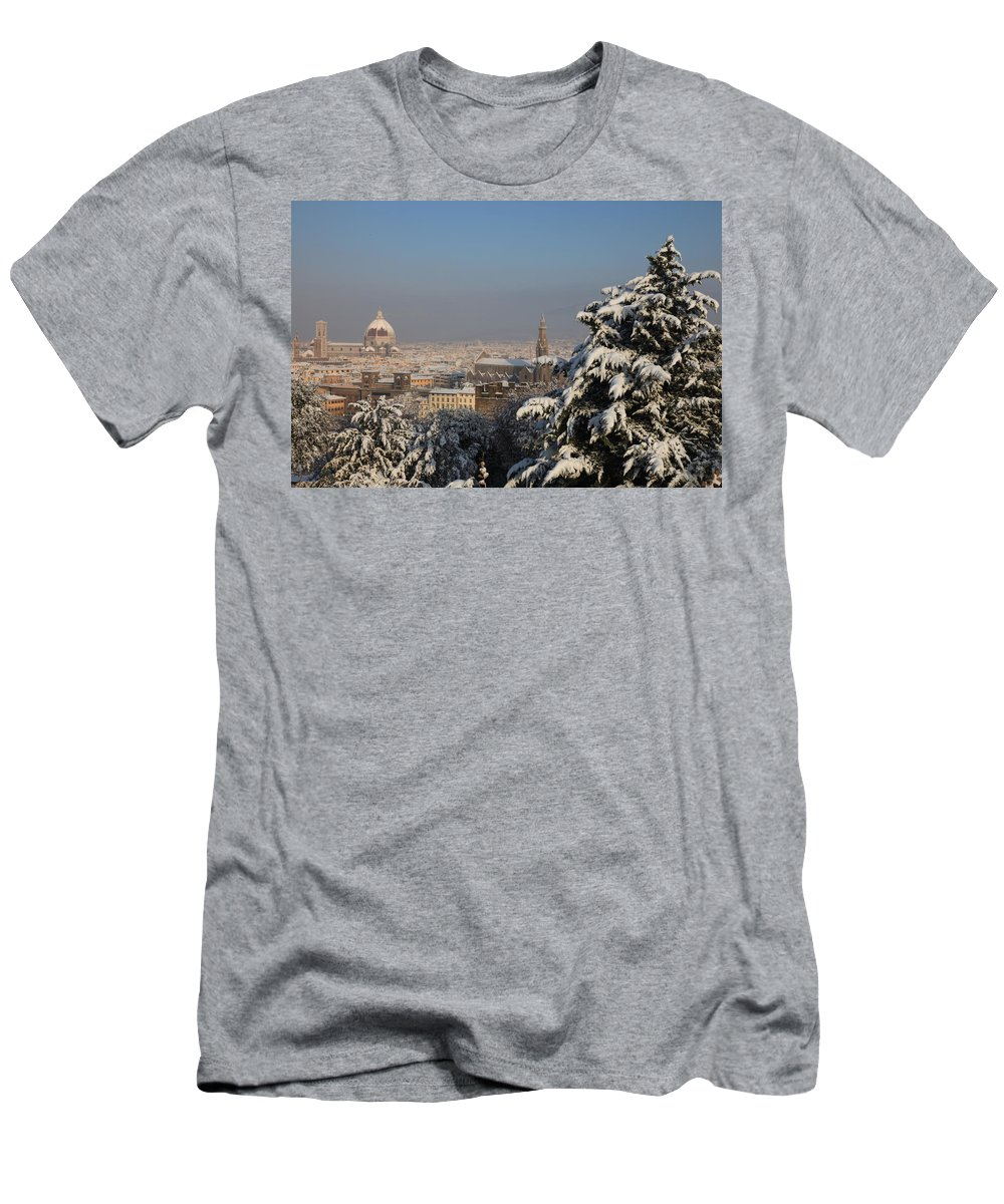 Snow Men's T-Shirt (Athletic Fit) featuring the photograph Firenze Under The Snow by Francesco Scali