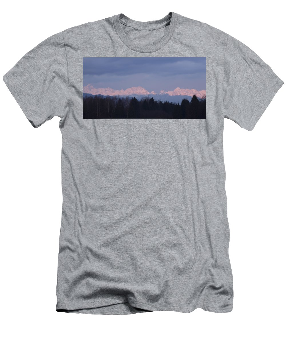 Sunrise Men's T-Shirt (Athletic Fit) featuring the photograph First Mountain Snow by Ian Middleton
