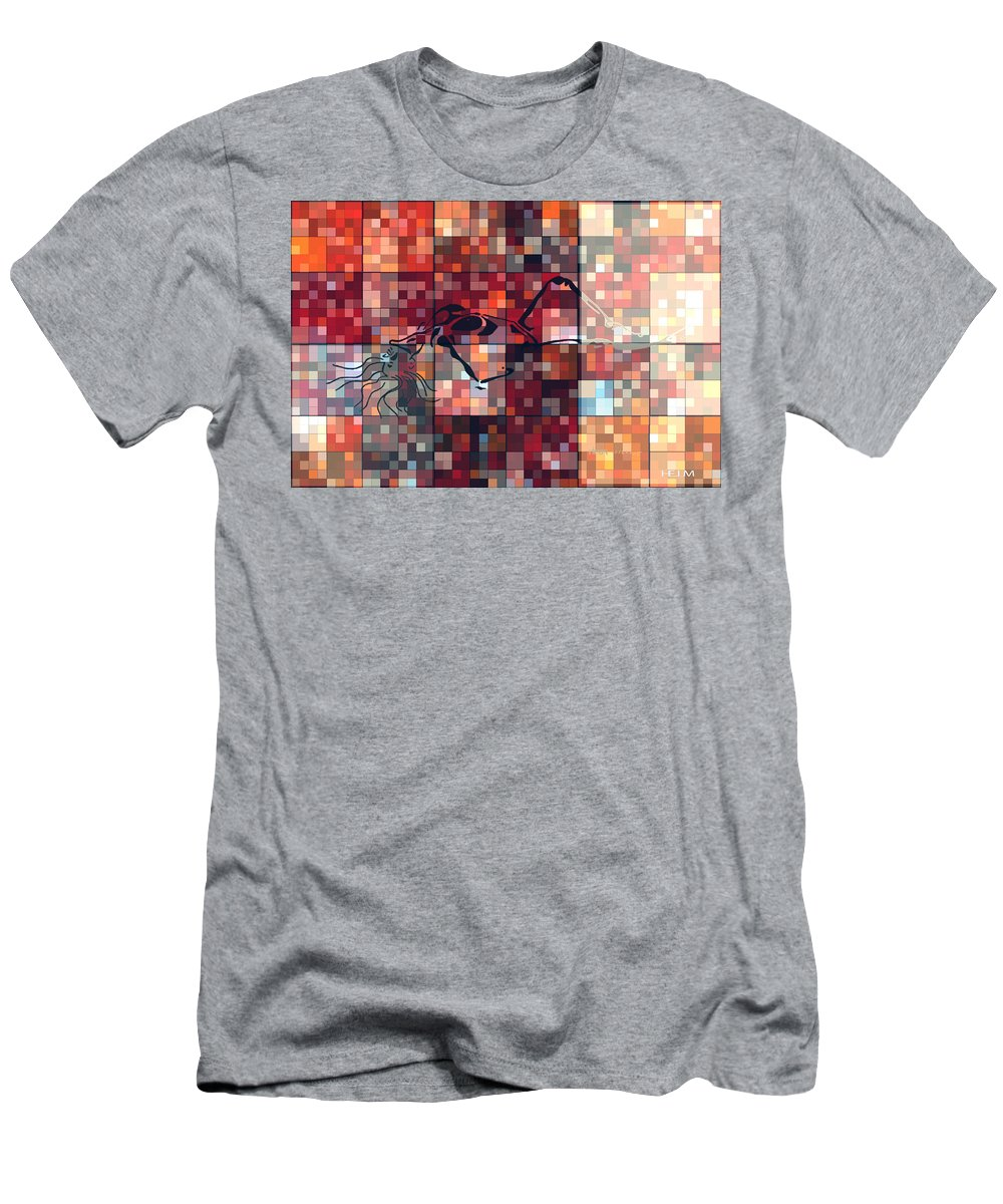 Hearts Digital Art Men's T-Shirt (Athletic Fit) featuring the digital art First Time Geometric Red by Mayhem Mediums