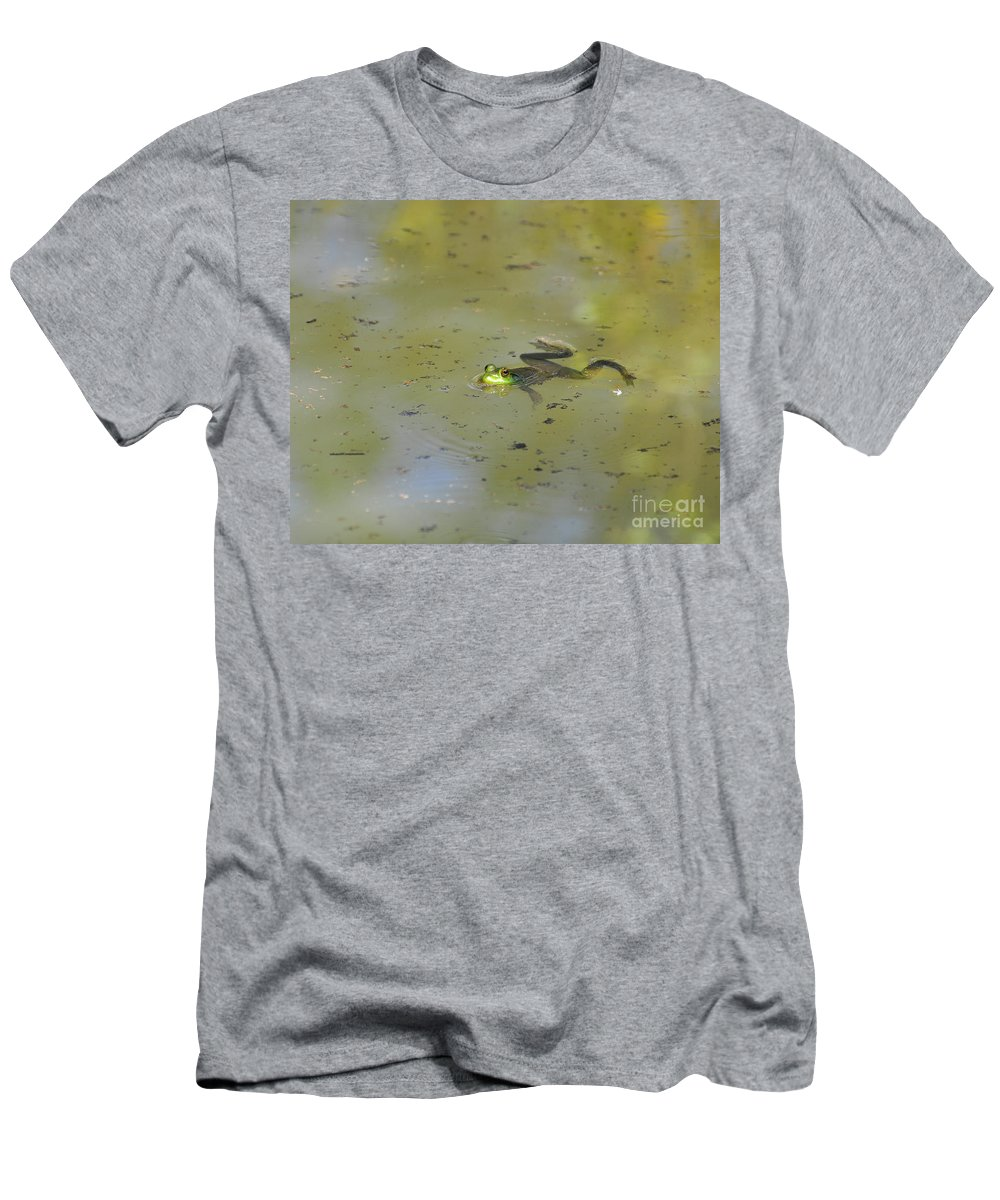 Frog Men's T-Shirt (Athletic Fit) featuring the photograph Floating Frog by Al Powell Photography USA