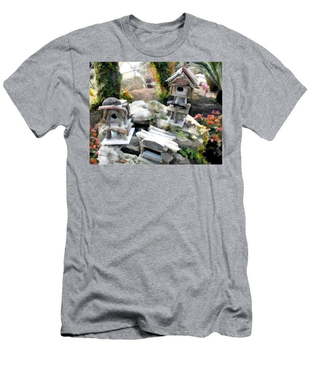 Men's T-Shirt (Athletic Fit) featuring the painting Flock Of Rustic Birdhouses by Elaine Plesser