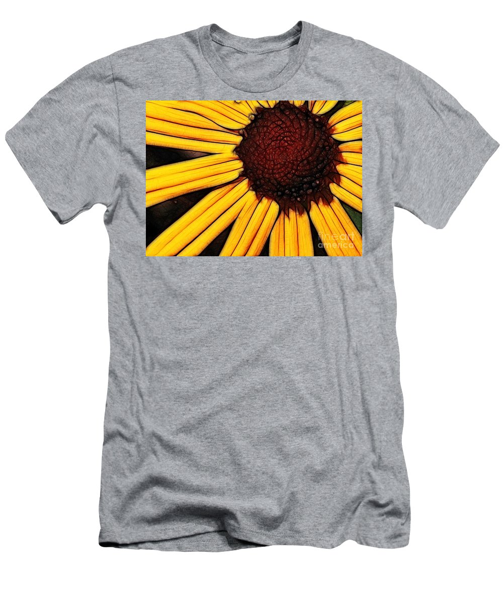 Flower Men's T-Shirt (Athletic Fit) featuring the photograph Flower - Yellow And Brown - Abstract by Paul Ward