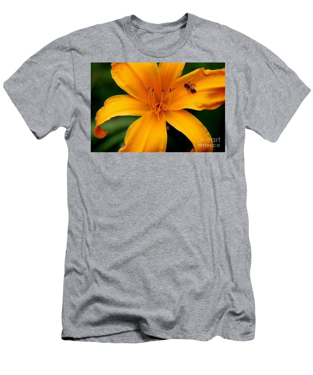 Flower Men's T-Shirt (Athletic Fit) featuring the photograph Flower And Bee by Ronald Grogan