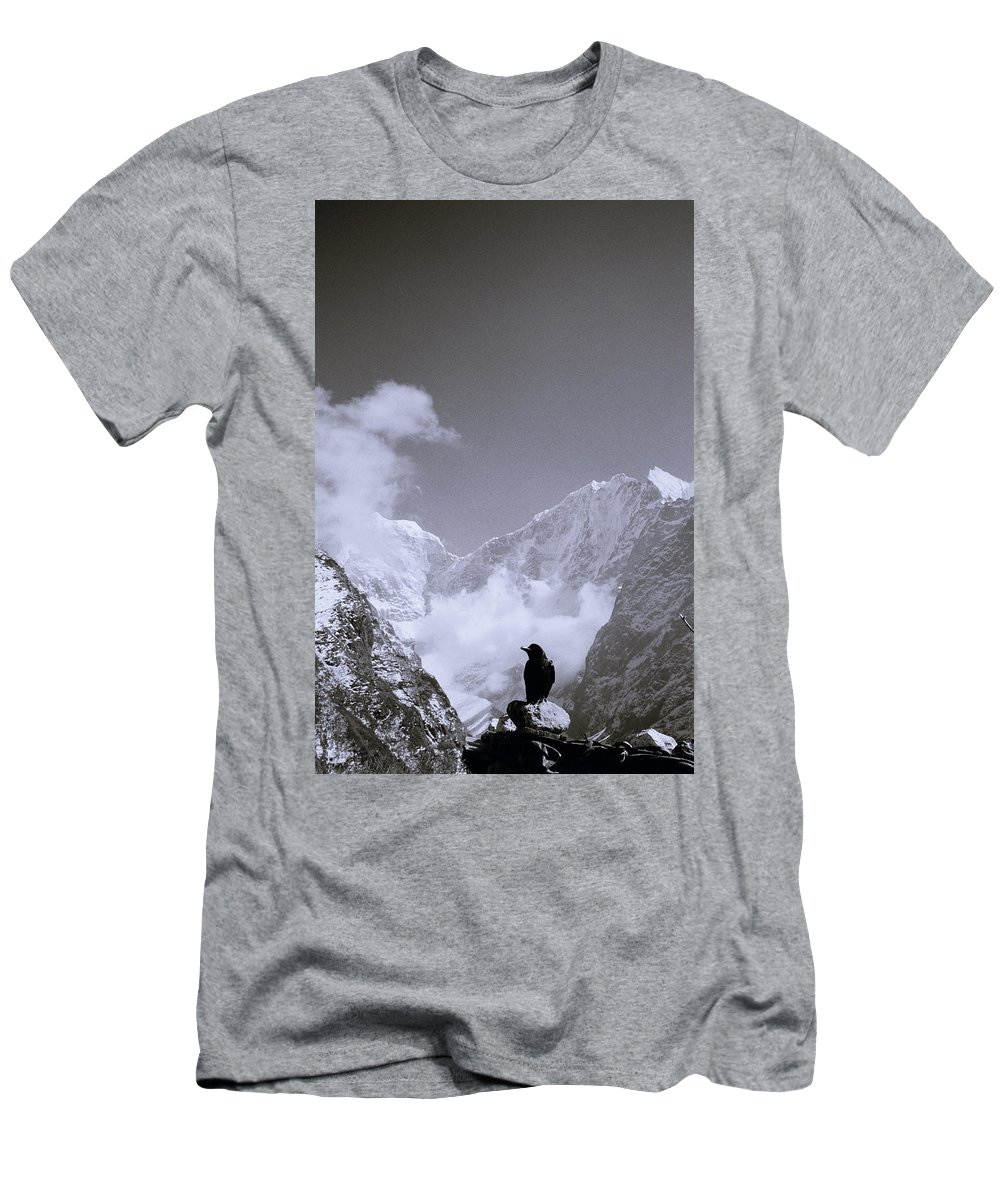 Himalaya Men's T-Shirt (Athletic Fit) featuring the photograph Freedom In The Himalayas In Nepal by Shaun Higson