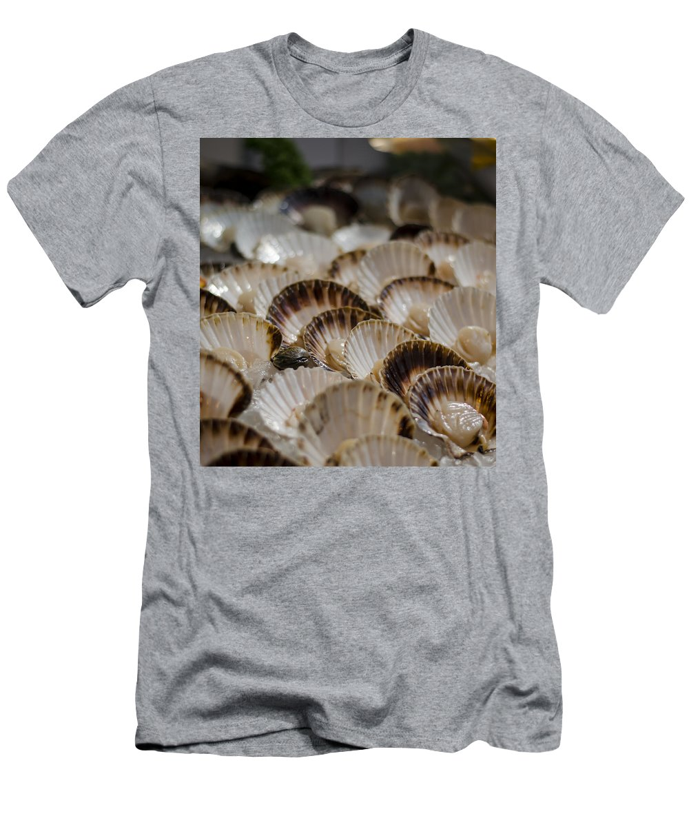 Scallops Men's T-Shirt (Athletic Fit) featuring the photograph Fresh From The Sea by Heather Applegate