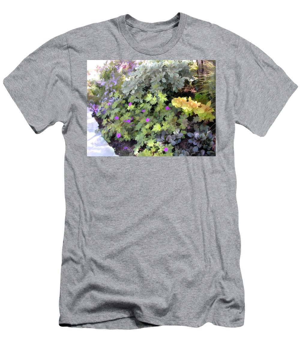 Flower Flowers Garden Ground+cover Flower+border Edging Flora Floral Nature Natural Bloom Blooms Blossoms Blossom Bouquet Arrangement Colorful Plant Plants Botanical Botanic Blooming Gardens Gardening Tropical Annual Annuals Perennial Perennials Bulb Bulbs Men's T-Shirt (Athletic Fit) featuring the painting Garden Flower Border by Elaine Plesser