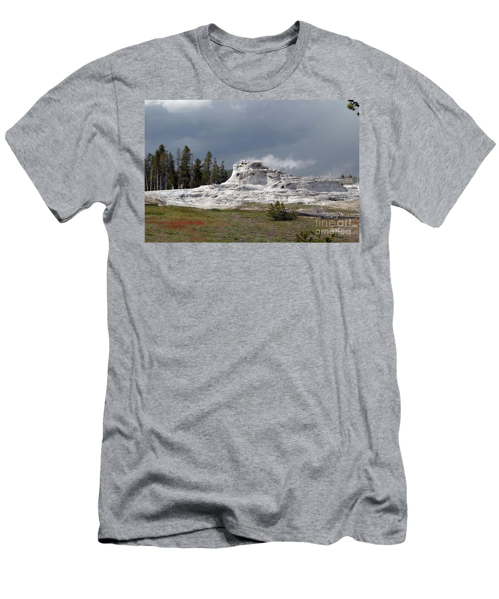 Geyser Men's T-Shirt (Athletic Fit) featuring the photograph Geyser In Yellowstone by Living Color Photography Lorraine Lynch
