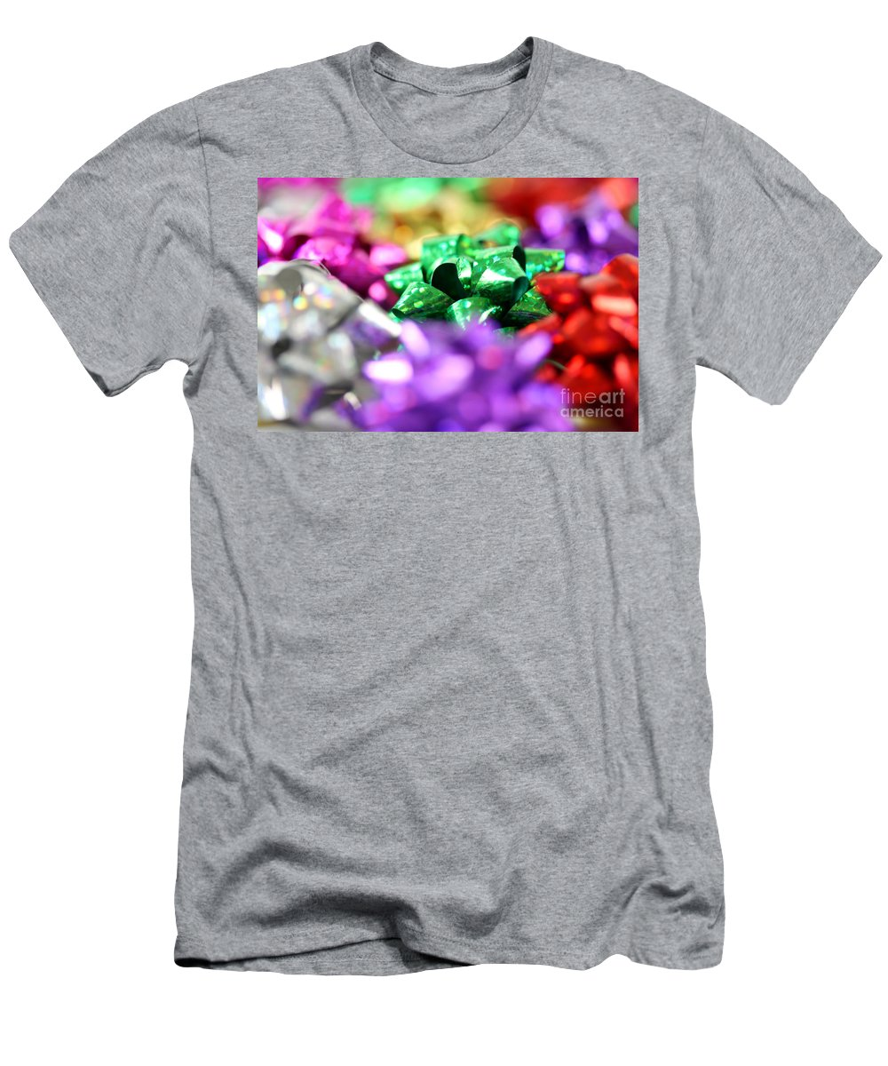 Bow Men's T-Shirt (Athletic Fit) featuring the photograph Gift Bows Close Up by Simon Bratt Photography LRPS