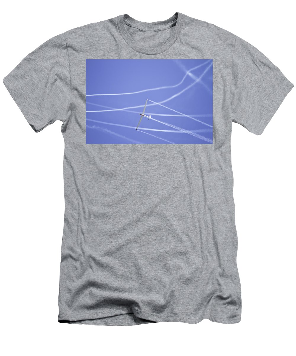 Plane Men's T-Shirt (Athletic Fit) featuring the photograph Glider Flying Aerobatics At Airshow Photo Poster Print by Keith Webber Jr