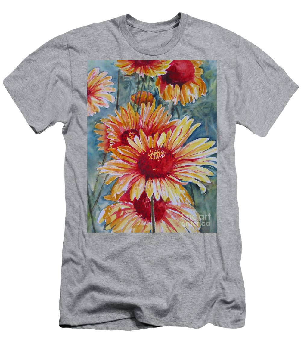 Men's T-Shirt (Athletic Fit) featuring the painting Glorious Gallardias by Mohamed Hirji