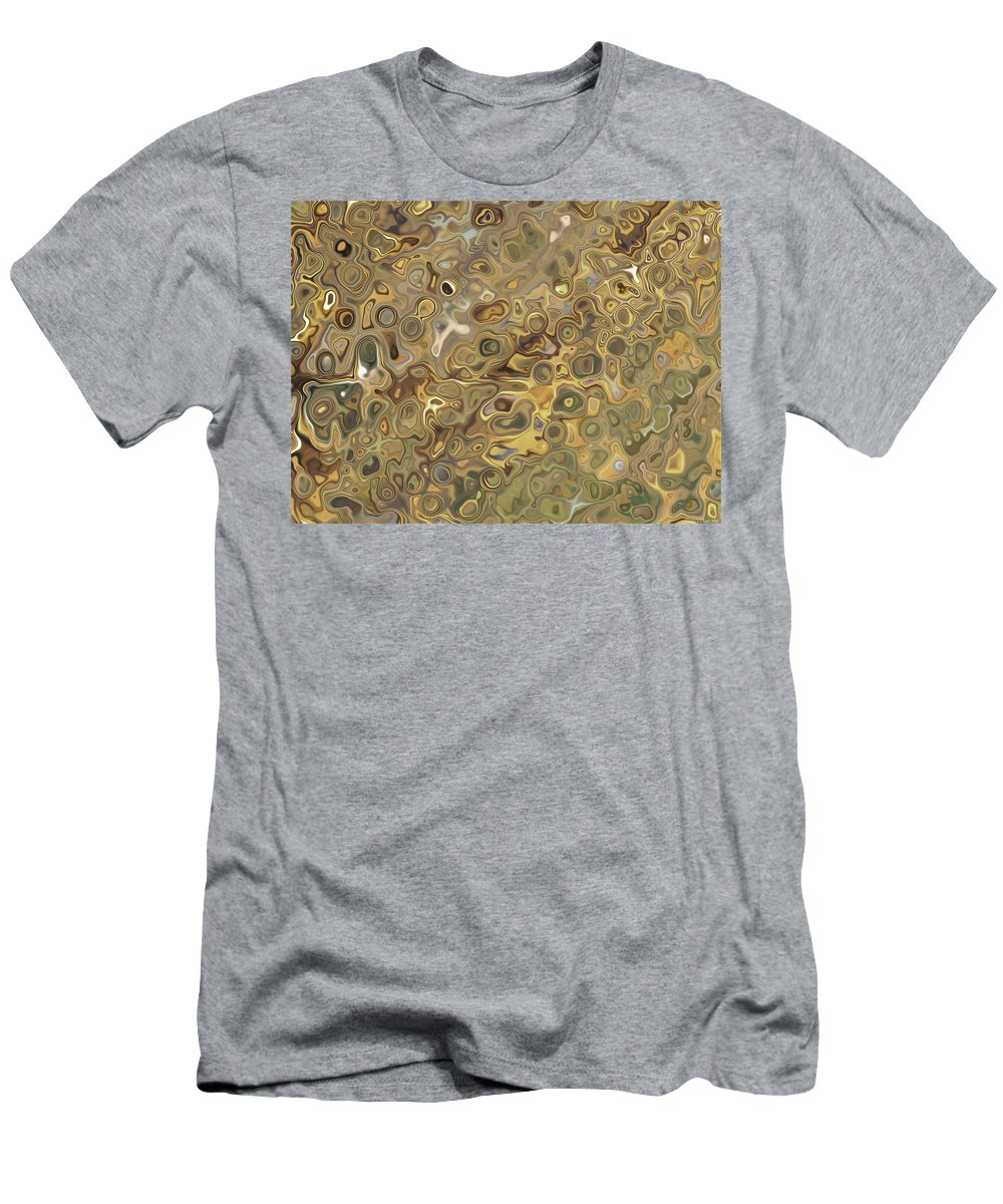 Abstract Men's T-Shirt (Athletic Fit) featuring the digital art Golden Fluidity by Debbie Portwood