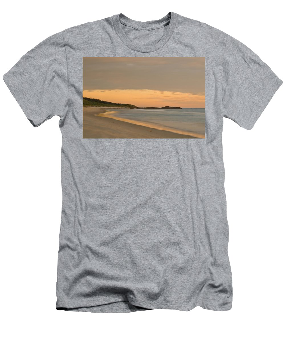 Background Men's T-Shirt (Athletic Fit) featuring the photograph Golden Light After A Sunset At A Beach by U Schade