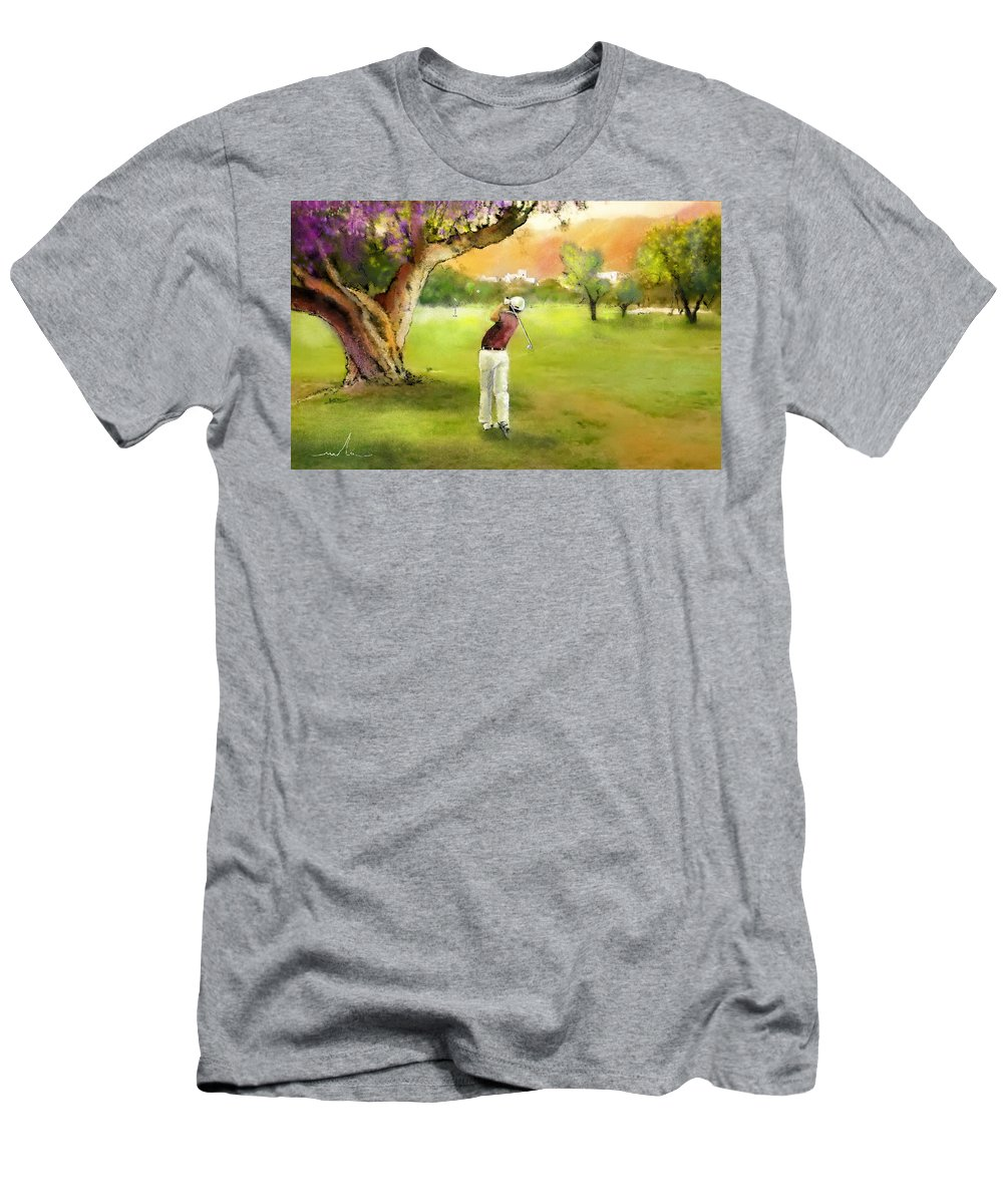 Golf Men's T-Shirt (Athletic Fit) featuring the painting Golf In Spain Castello Masters 04 by Miki De Goodaboom